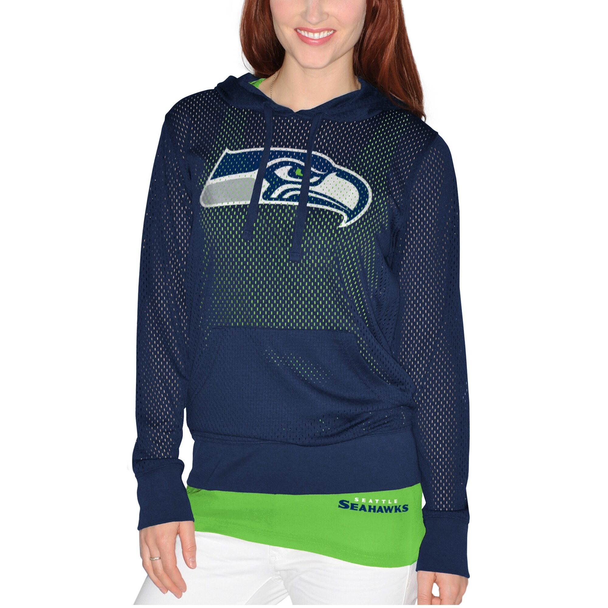 Seattle Seahawks Women's Holey Hoodie T-Shirt & Tank Top Set - Navy