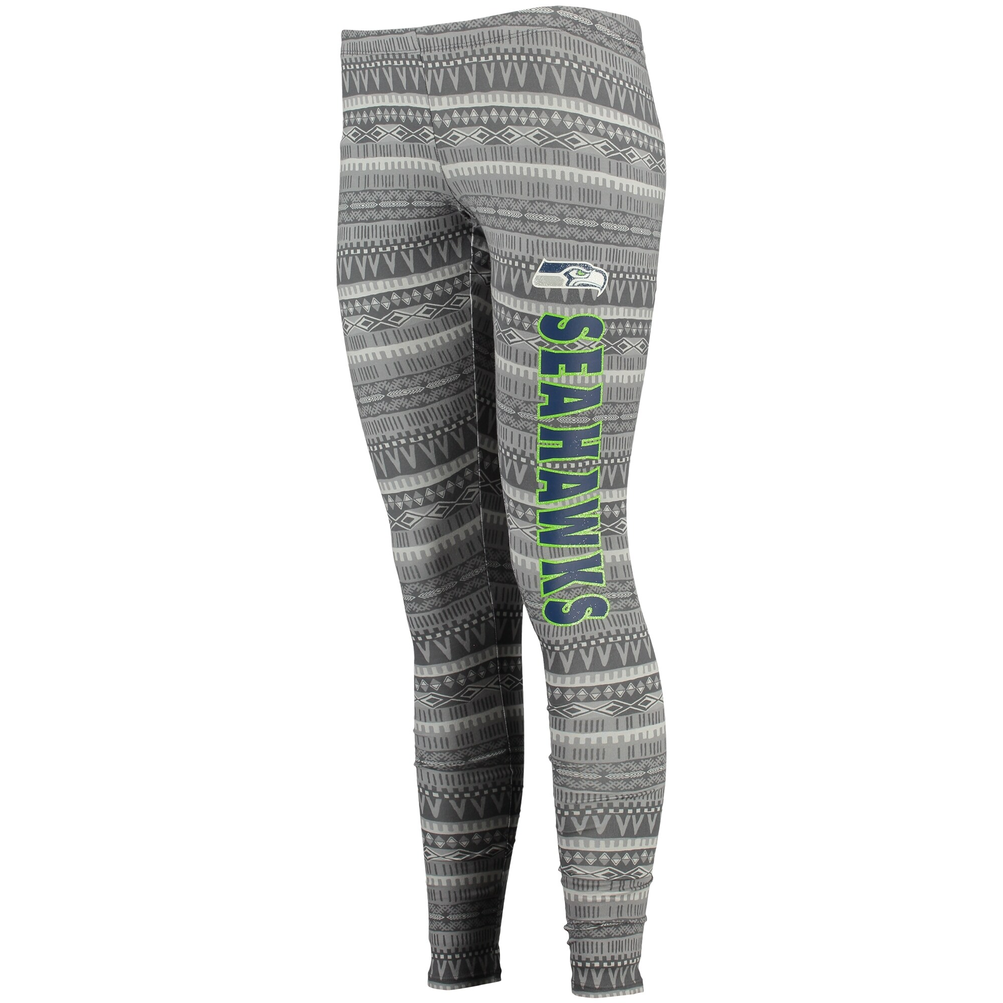 Seattle Seahawks Concept Sports Women's Comeback Tribal Print Leggings - Charcoal