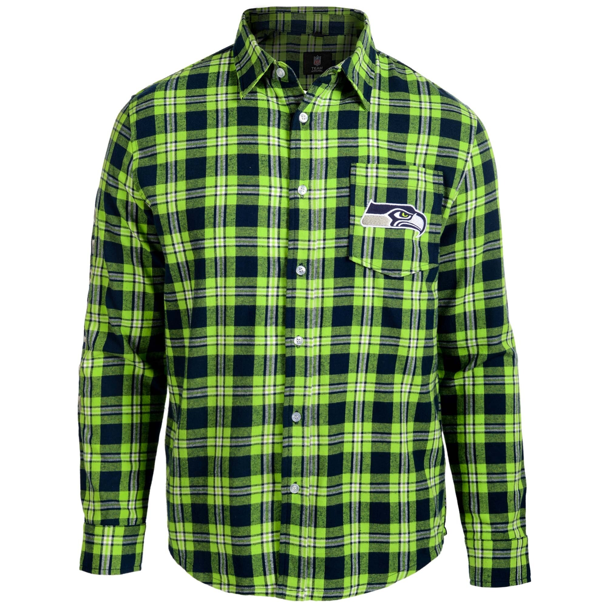 Seattle Seahawks Wordmark Flannel Long Sleeve Button-Up - Navy/