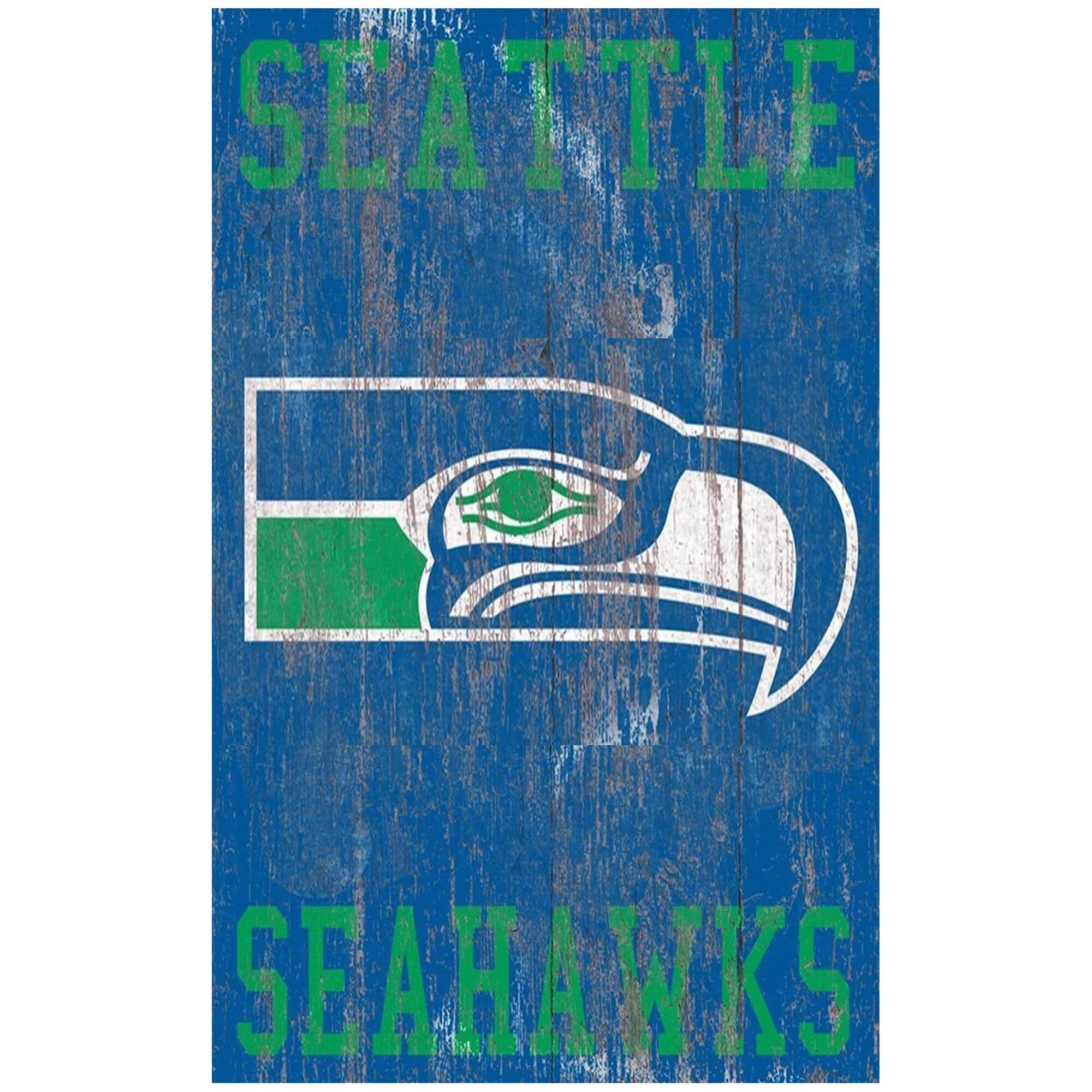 Seattle Seahawks 11'' x 19'' Heritage Distressed Logo Sign