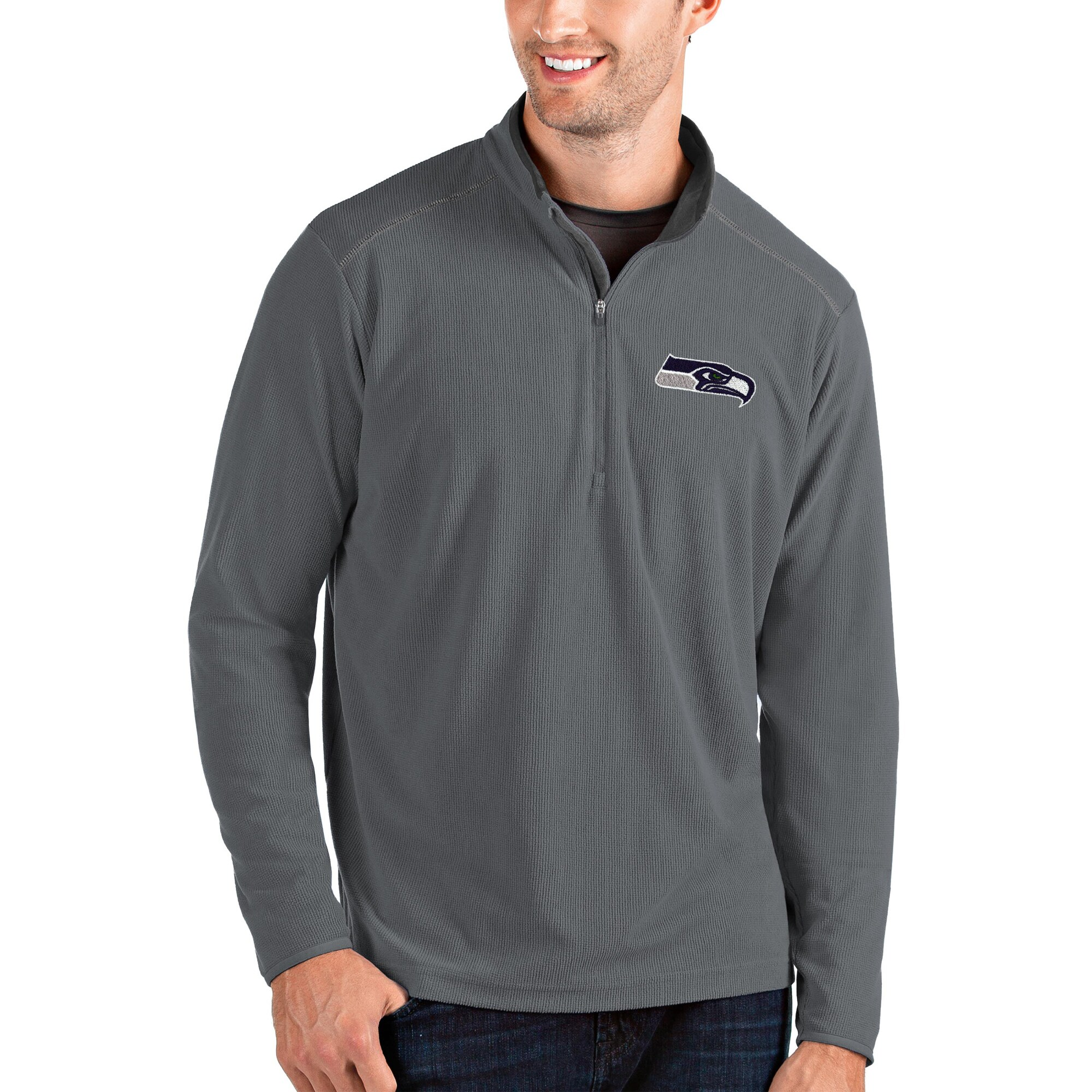 Seattle Seahawks Antigua Glacier Quarter-Zip Pullover Jacket - Gray/Gray