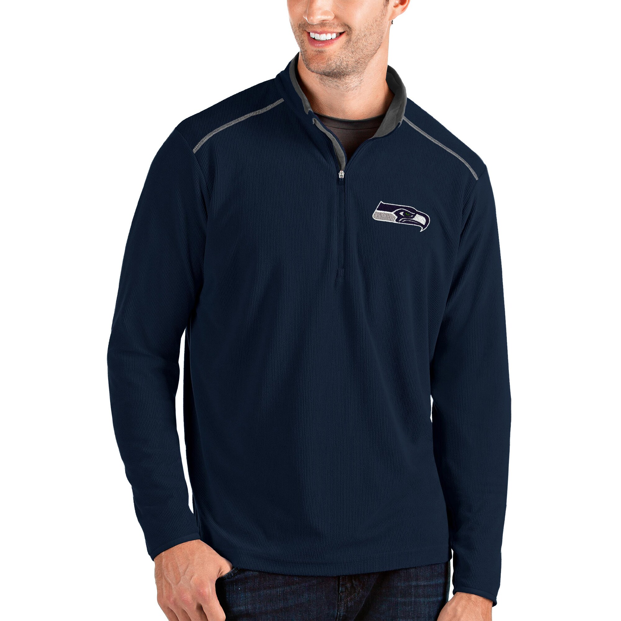 Seattle Seahawks Antigua Glacier Quarter-Zip Pullover Jacket - Navy/Gray