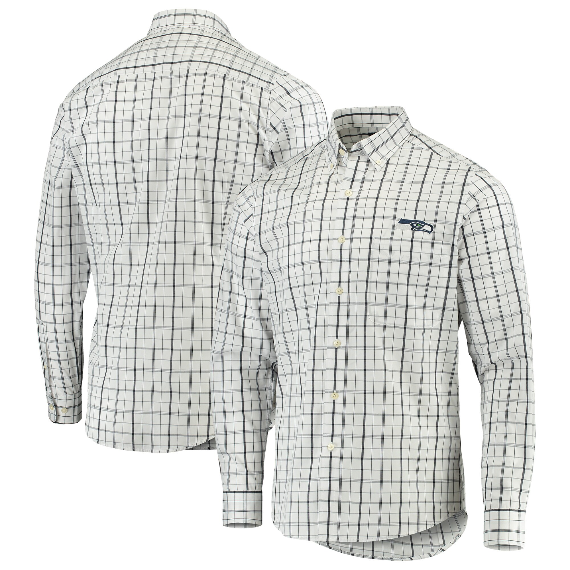 Seattle Seahawks Antigua Keen Long Sleeve Button-Down Shirt - White/College Navy
