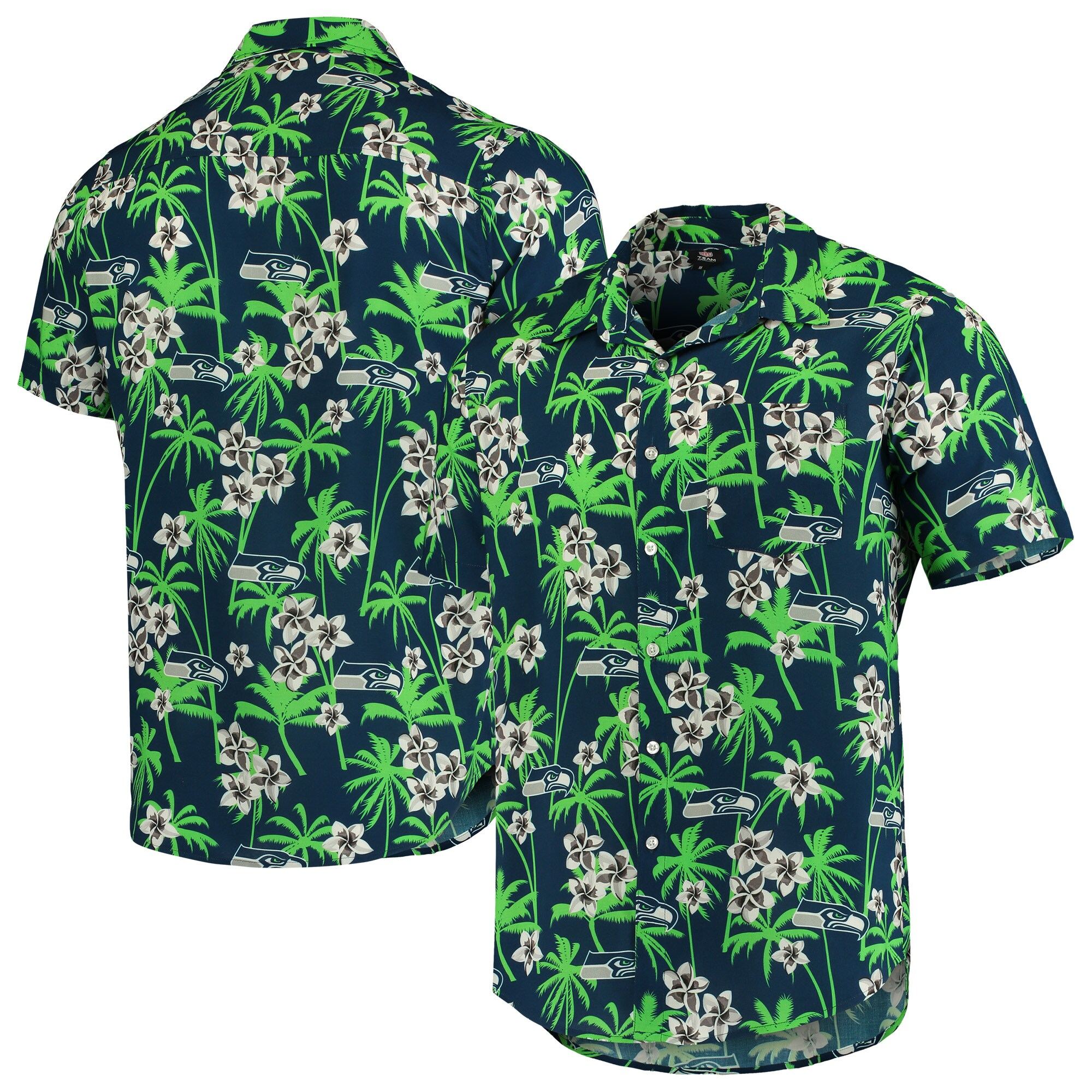 Seattle Seahawks Floral Woven Button-Up Shirt - College Navy