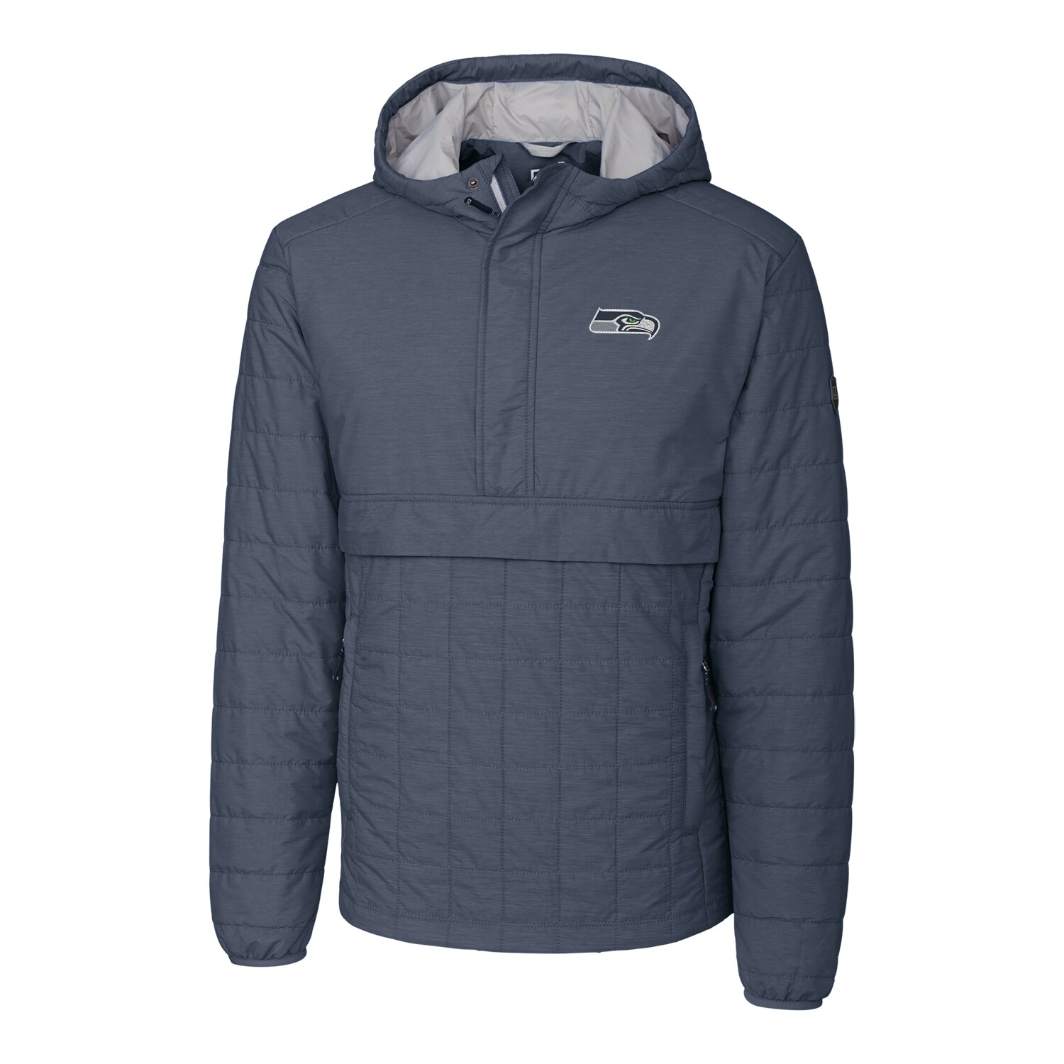 Seattle Seahawks Cutter & Buck Rainier Hooded Half-Zip Pullover Jacket - Charcoal