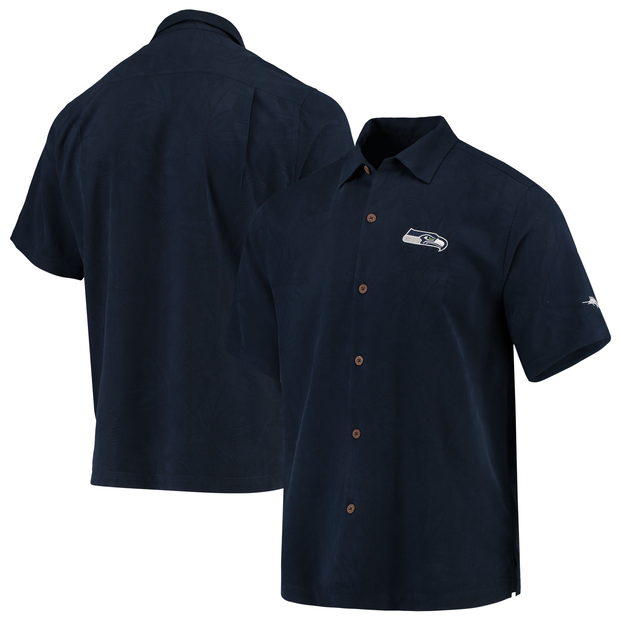 Seattle Seahawks Tommy Bahama Al Fresco Tropics Jacquard Woven Button-Down Shirt - College Navy