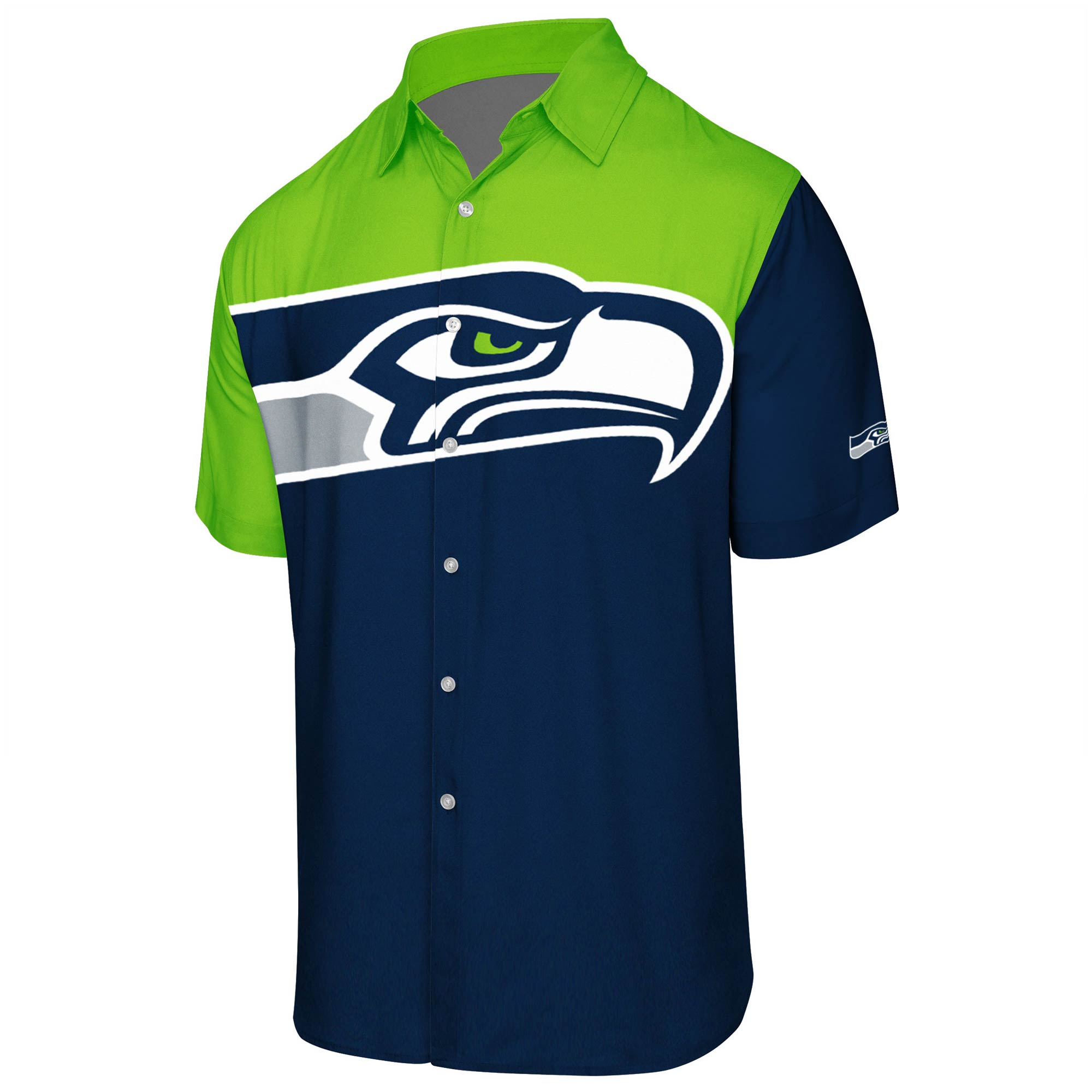 Seattle Seahawks Big Logo Button-Up Woven T-Shirt - College Navy