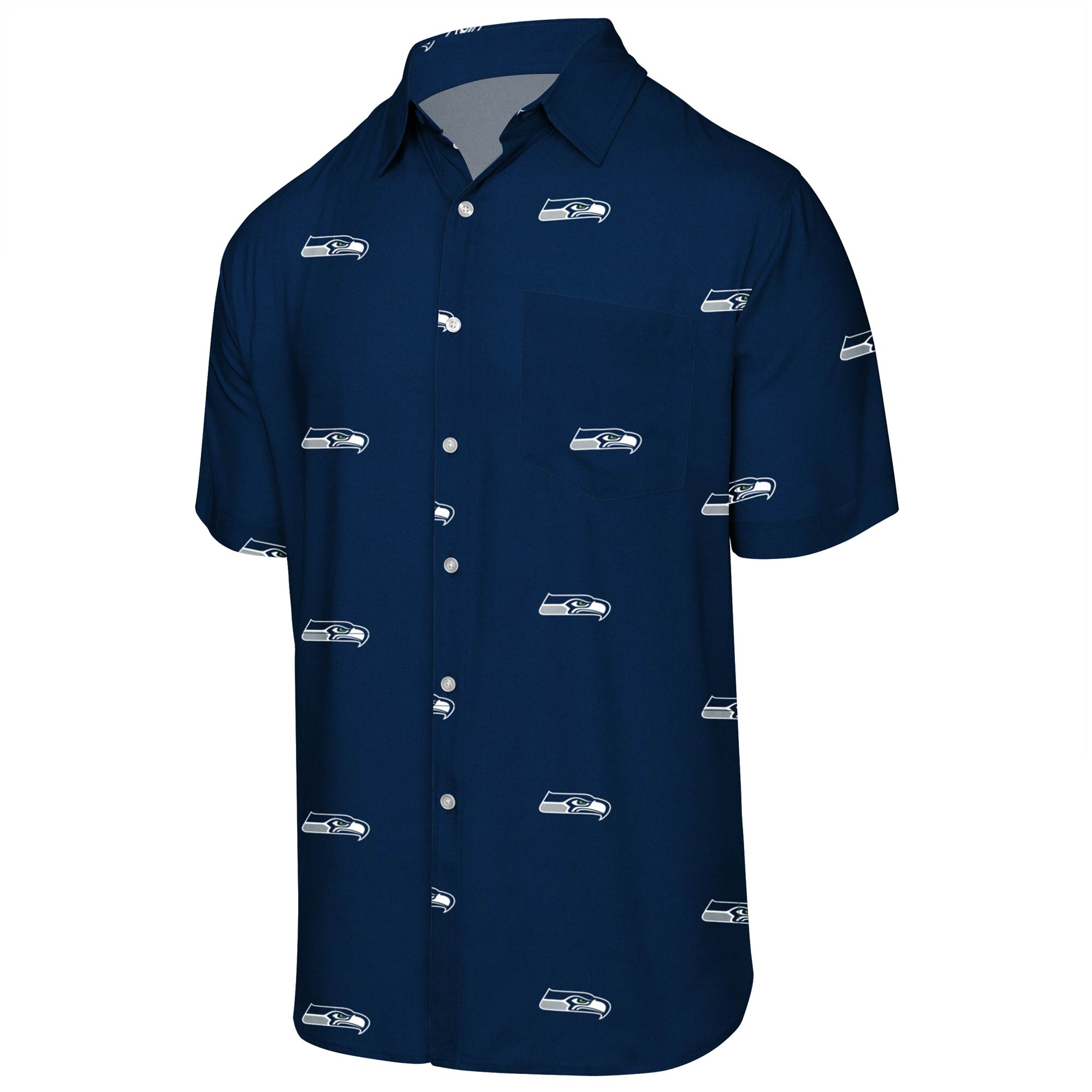 Seattle Seahawks Mini Print Logo Woven Button-Up Shirt - College Navy
