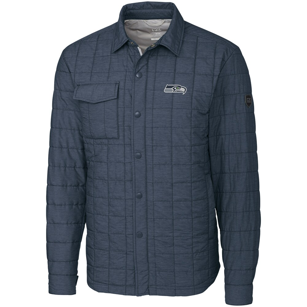 Seattle Seahawks Cutter & Buck Big & Tall Rainier Shirt Jacket - Charcoal