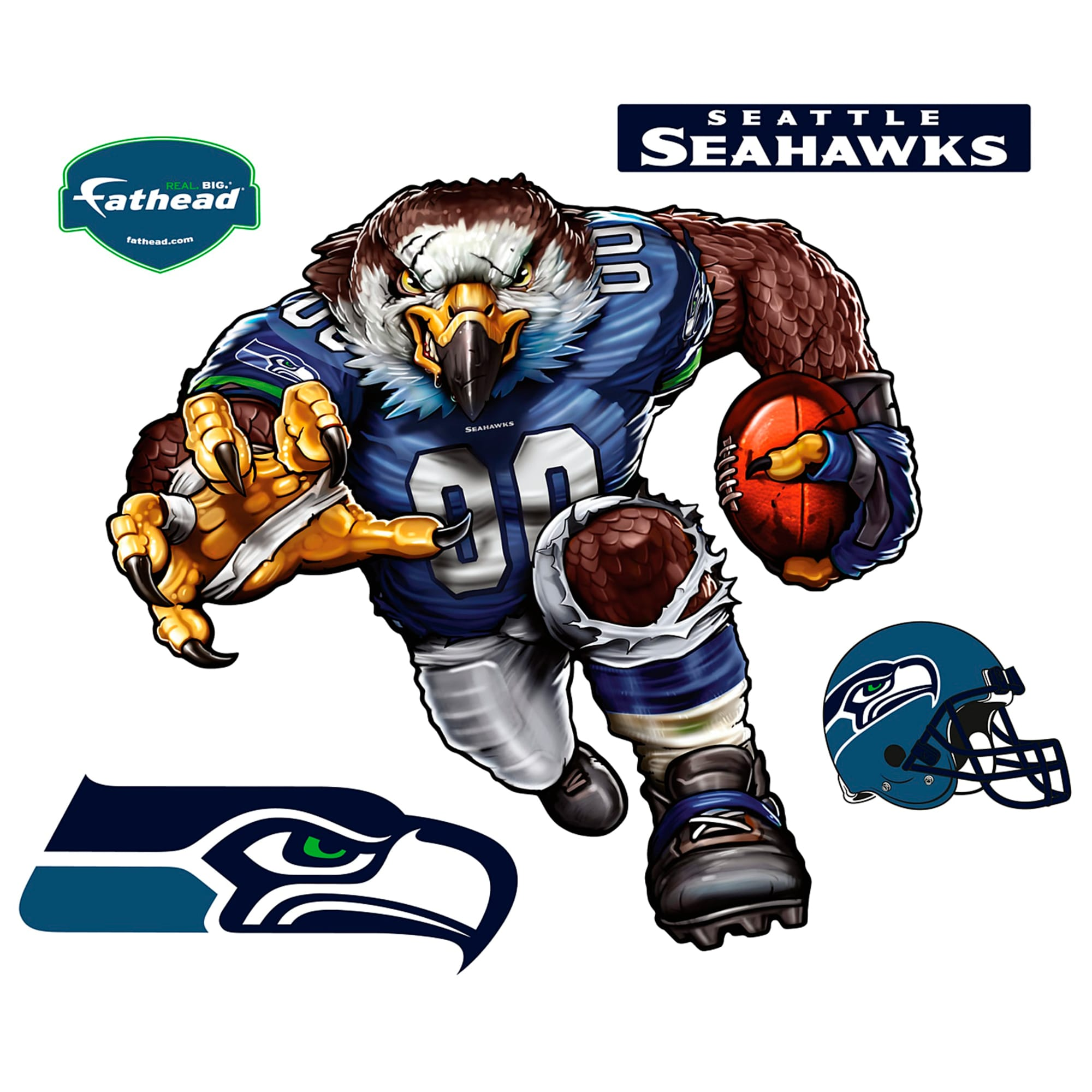 Seattle Seahawks Fathead Sinister Seahawk 5-Pack Removable Wall Decal