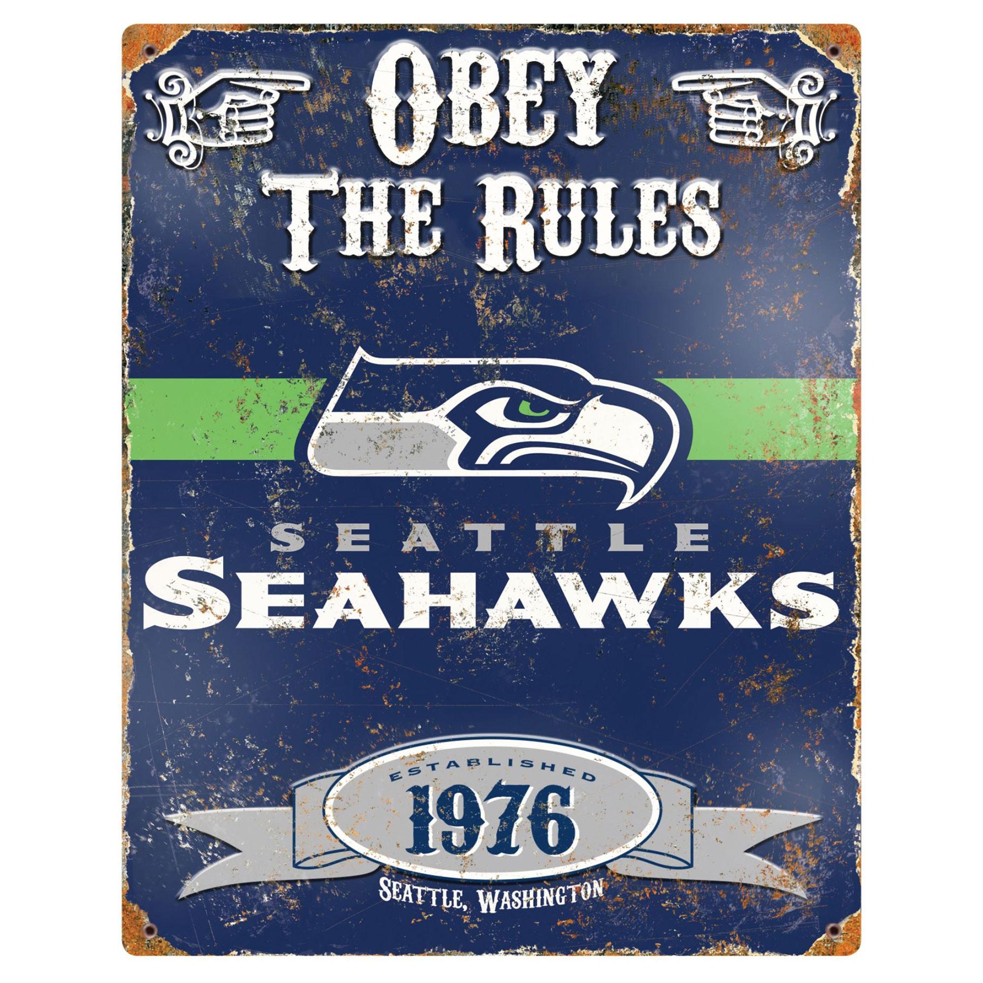 Seattle Seahawks 14.5'' x 11.5'' Embossed Metal Sign