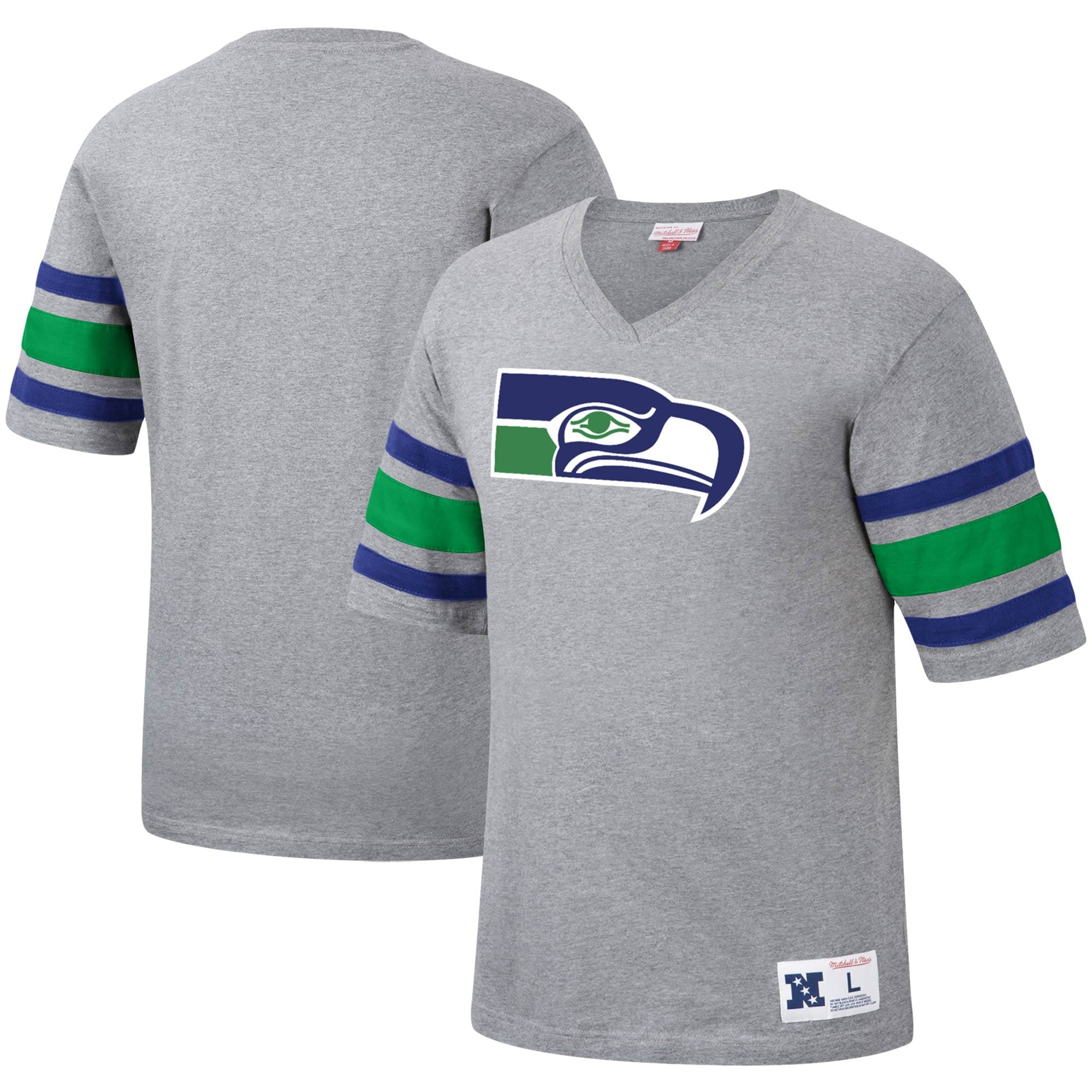 Seattle Seahawks Mitchell & Ness Post Season Run V-Neck T-Shirt - Heathered Gray