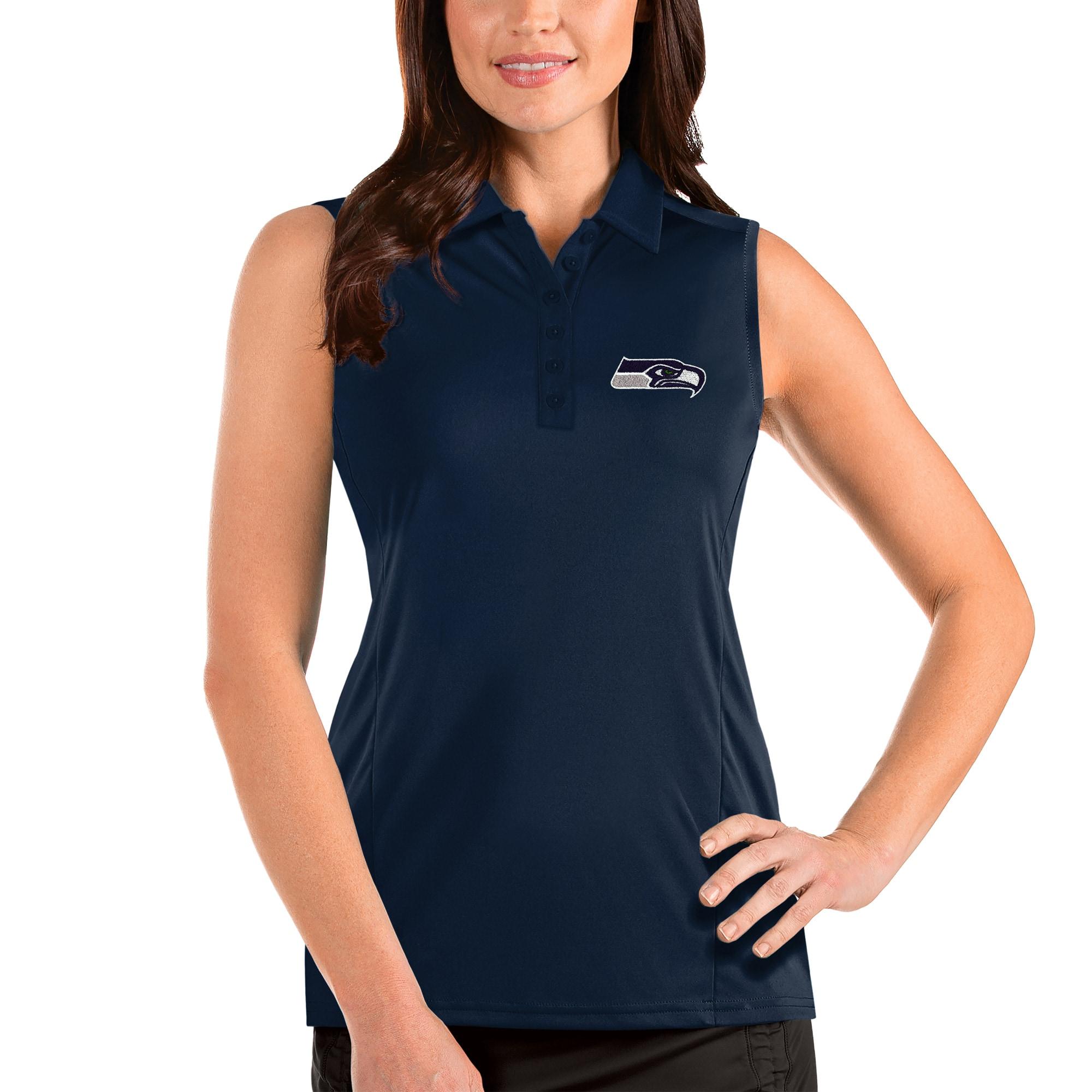 Seattle Seahawks Antigua Women's Sleeveless Tribute Polo - Navy