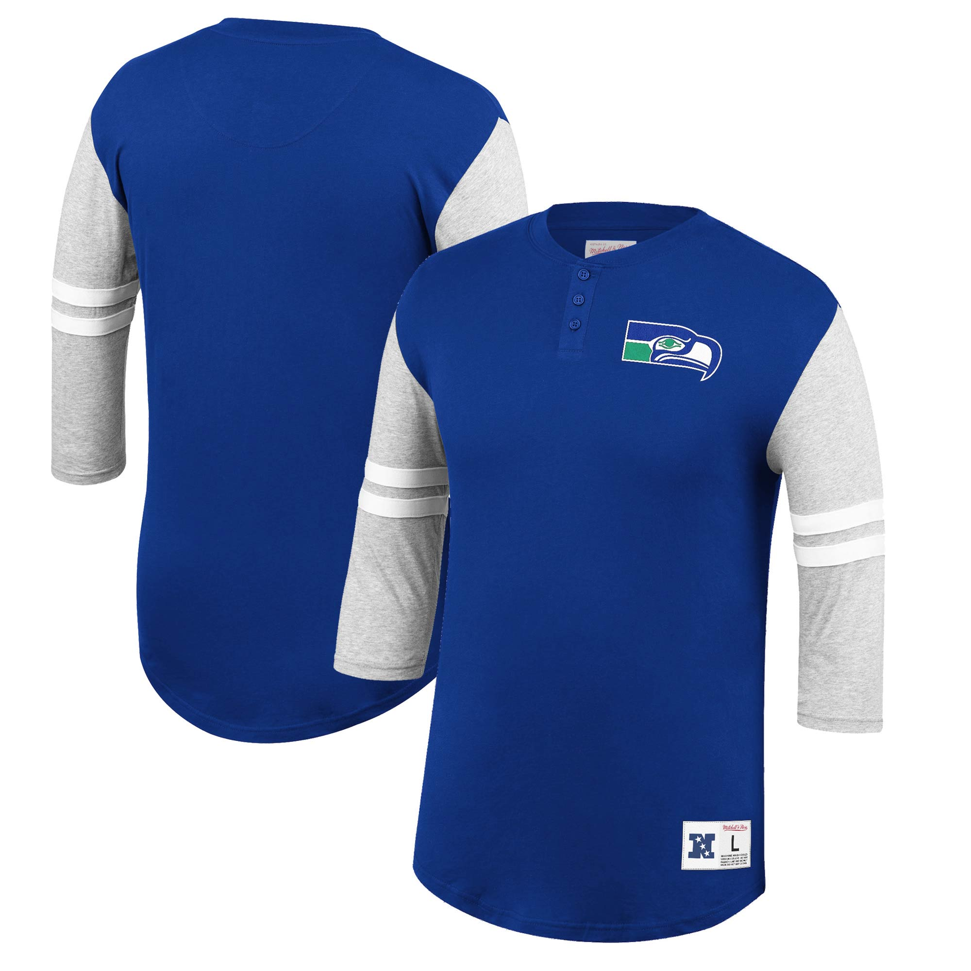 Seattle Seahawks Mitchell & Ness Team Logo 3/4-Sleeve Henley T-Shirt - Royal