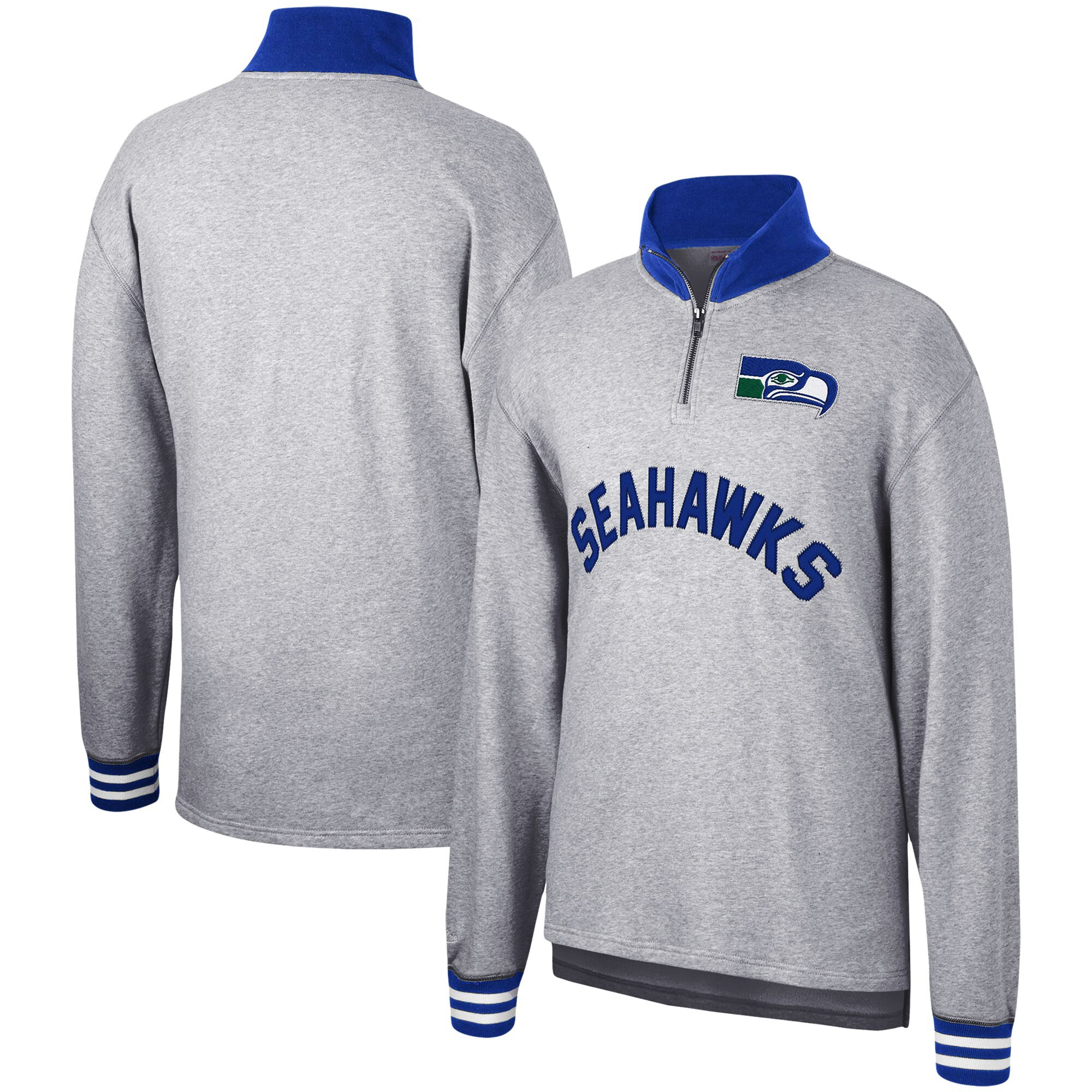 Seattle Seahawks Mitchell & Ness Sealed the Victory Quarter-Zip Pullover Jacket - Heathered Gray