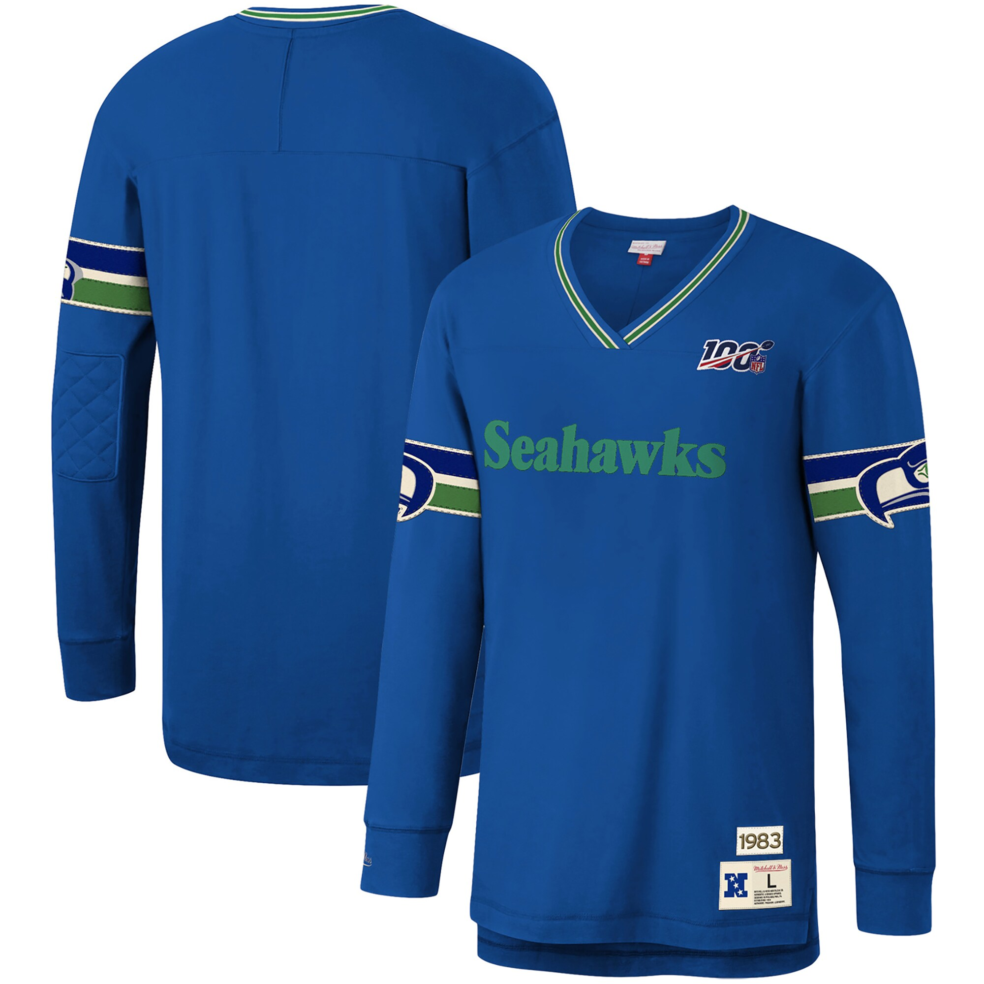 Seattle Seahawks Mitchell & Ness NFL 100 Team Inspired Long Sleeve V-Neck T-Shirt - Royal