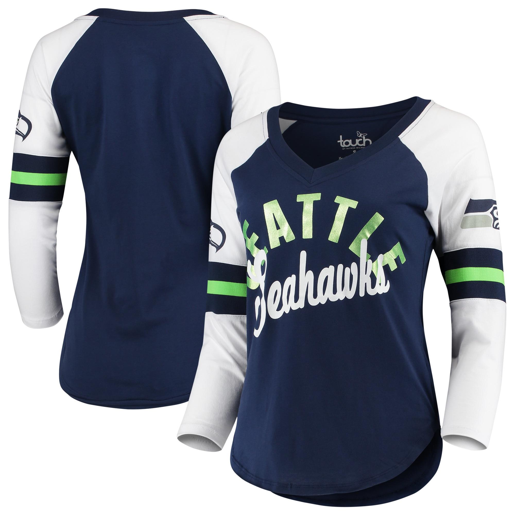 Seattle Seahawks Touch by Alyssa Milano Women's Reflex 3/4-Sleeve Raglan V-Neck T-Shirt - College Navy/White