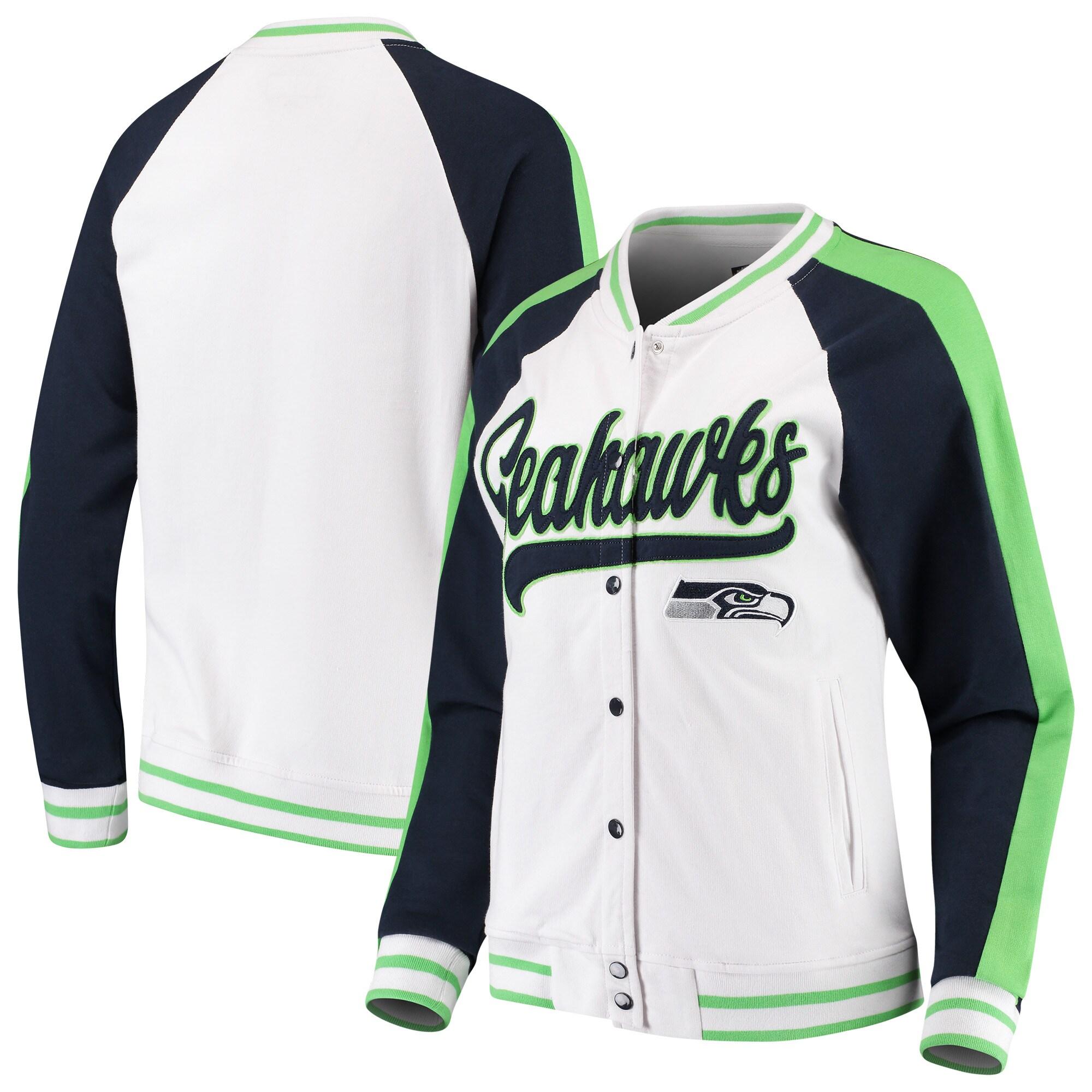 Seattle Seahawks New Era Women's Varsity Full Snap Jacket - White/College Navy