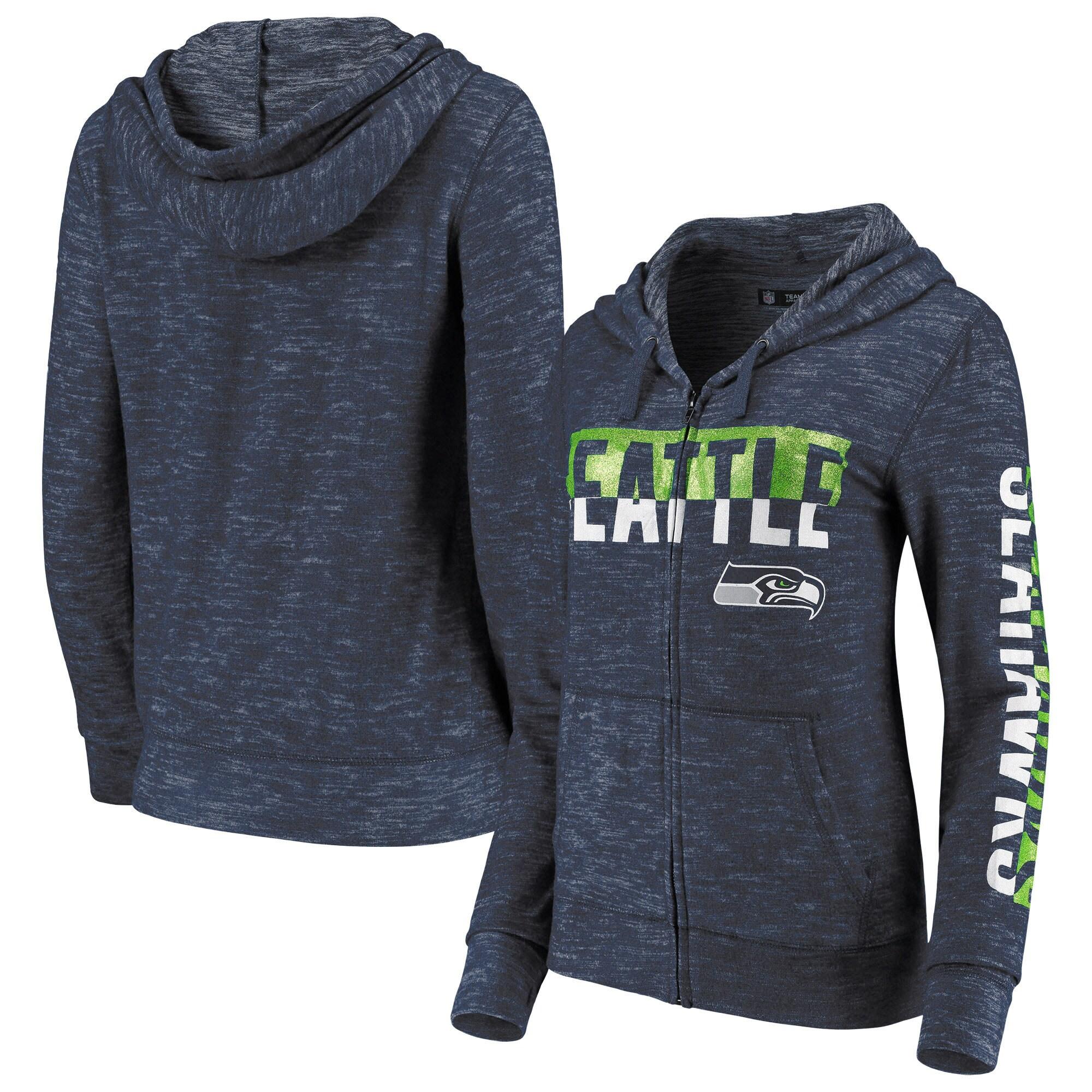 Seattle Seahawks New Era Women's Glitter Sweater Knit Tri-Blend Full-Zip Hoodie - College Navy