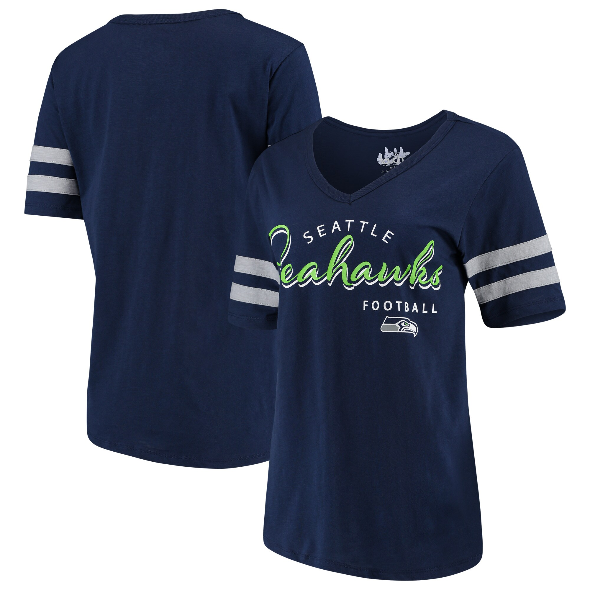 Seattle Seahawks Touch by Alyssa Milano Women's Triple Play V-Neck T-Shirt - College Navy