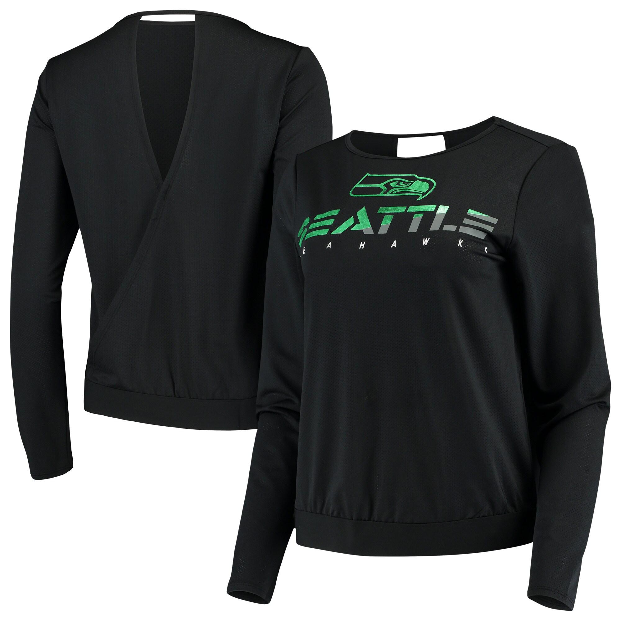 Seattle Seahawks Touch by Alyssa Milano Women's Breeze Back Long Sleeve V-Neck T-Shirt - Black
