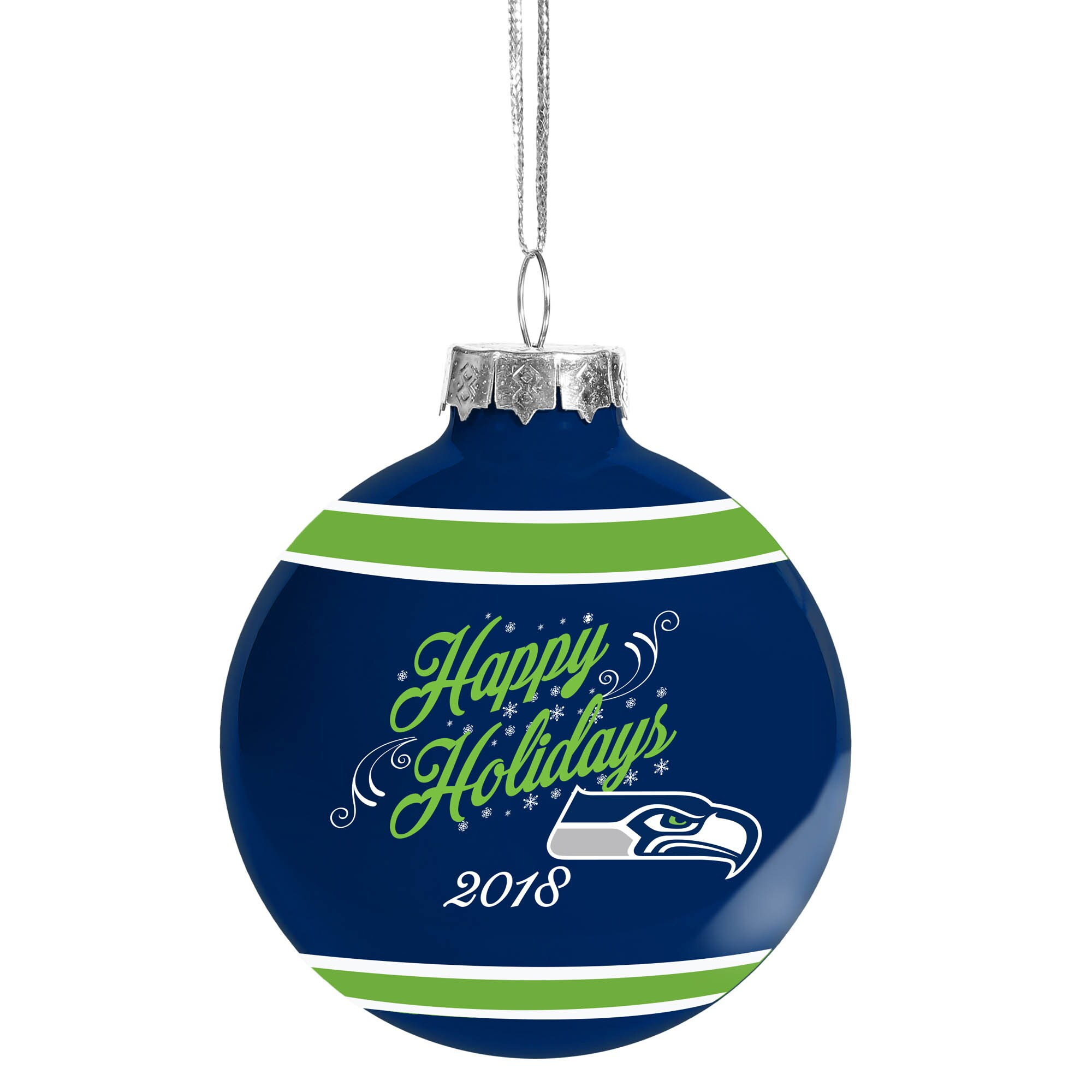 Seattle Seahawks 2018 Happy Holidays Glass Ball Ornament