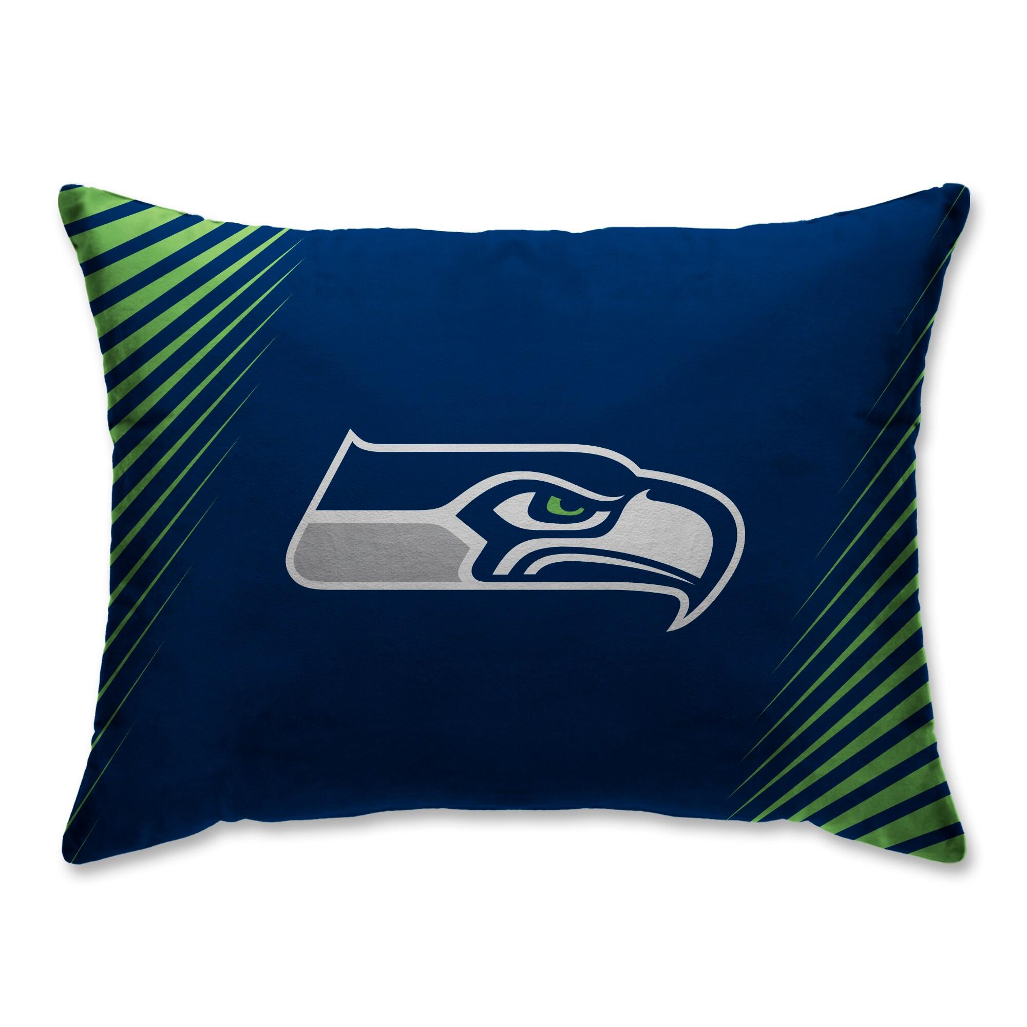 Seattle Seahawks Side Streak Plush Standard Pillow Protector - Blue