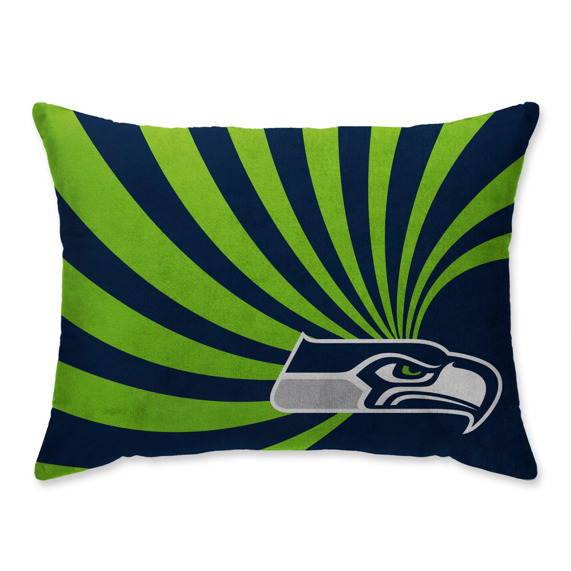 Seattle Seahawks Super Plush Mink Wave Bed Pillow - Blue