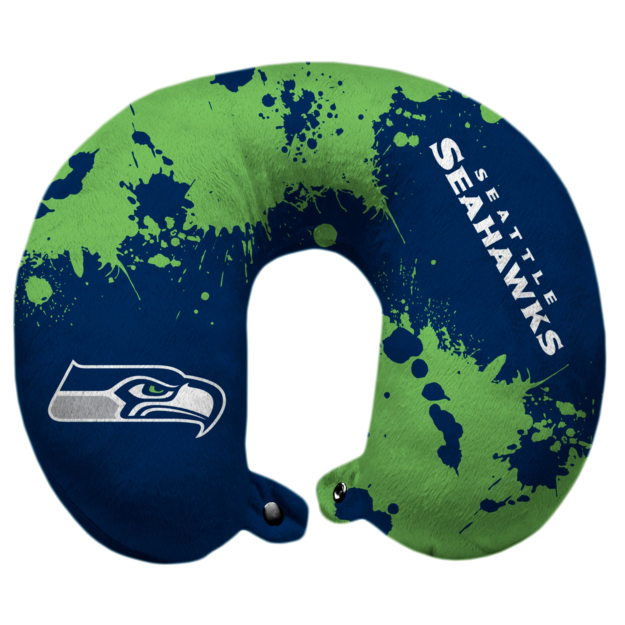 Seattle Seahawks Splatter Polyester Snap Closure Travel Pillow - Blue
