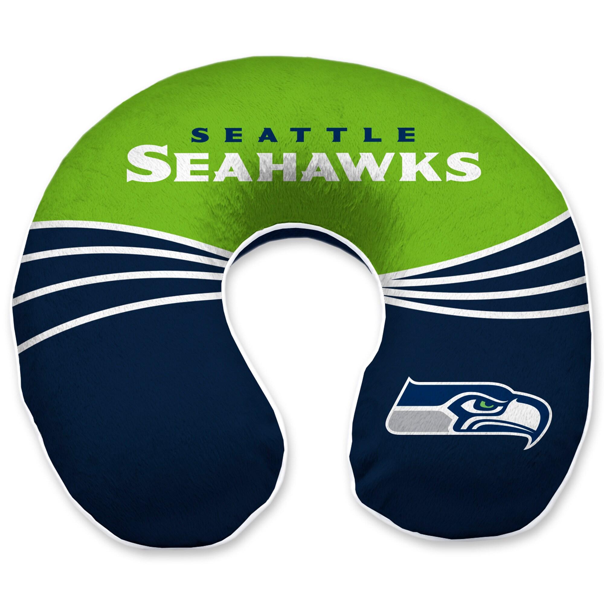 Seattle Seahawks Wave Memory Foam U-Neck Travel Pillow - Blue
