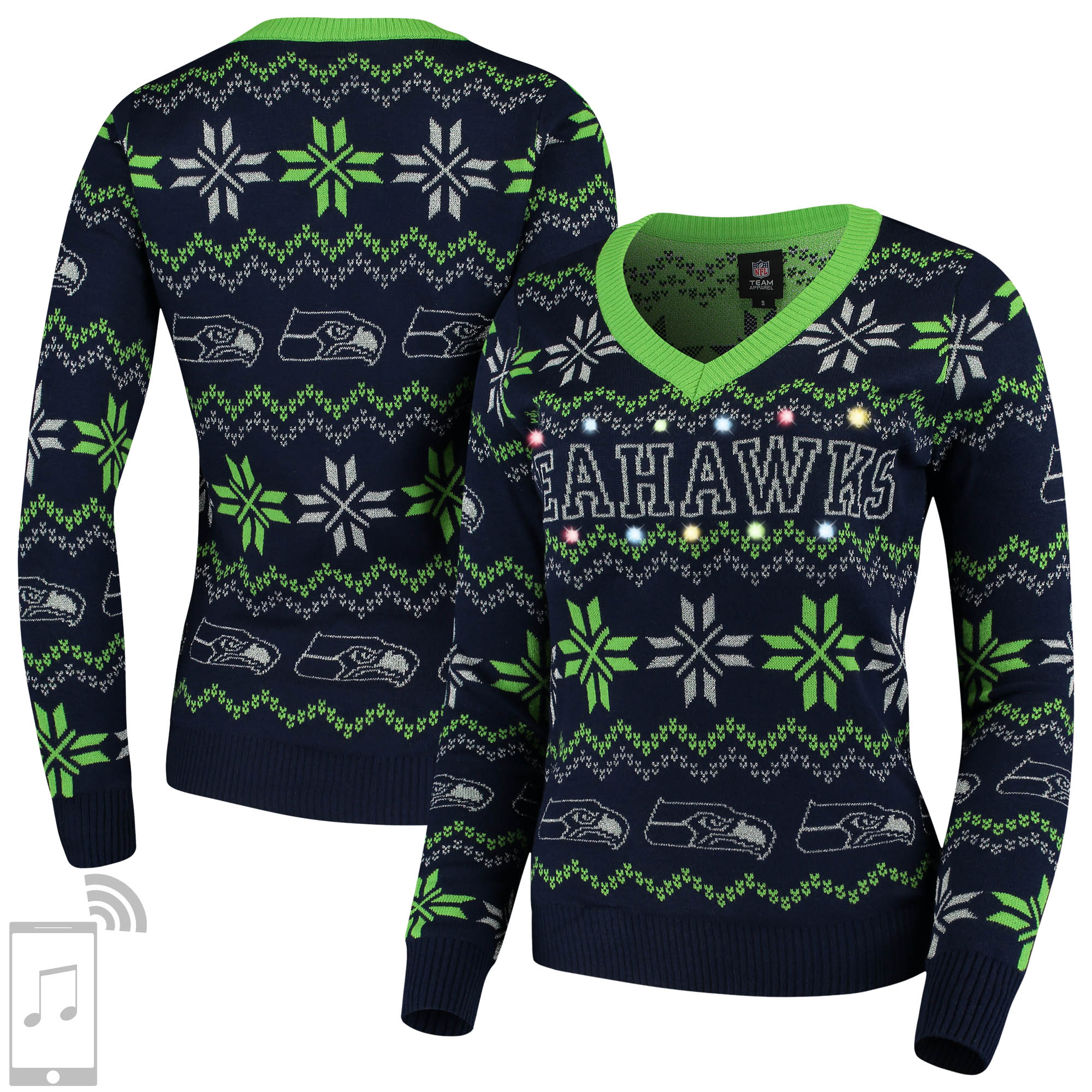 Seattle Seahawks Women's V-Neck Bluetooth Light Up Tri-Blend Ugly Sweater - Navy