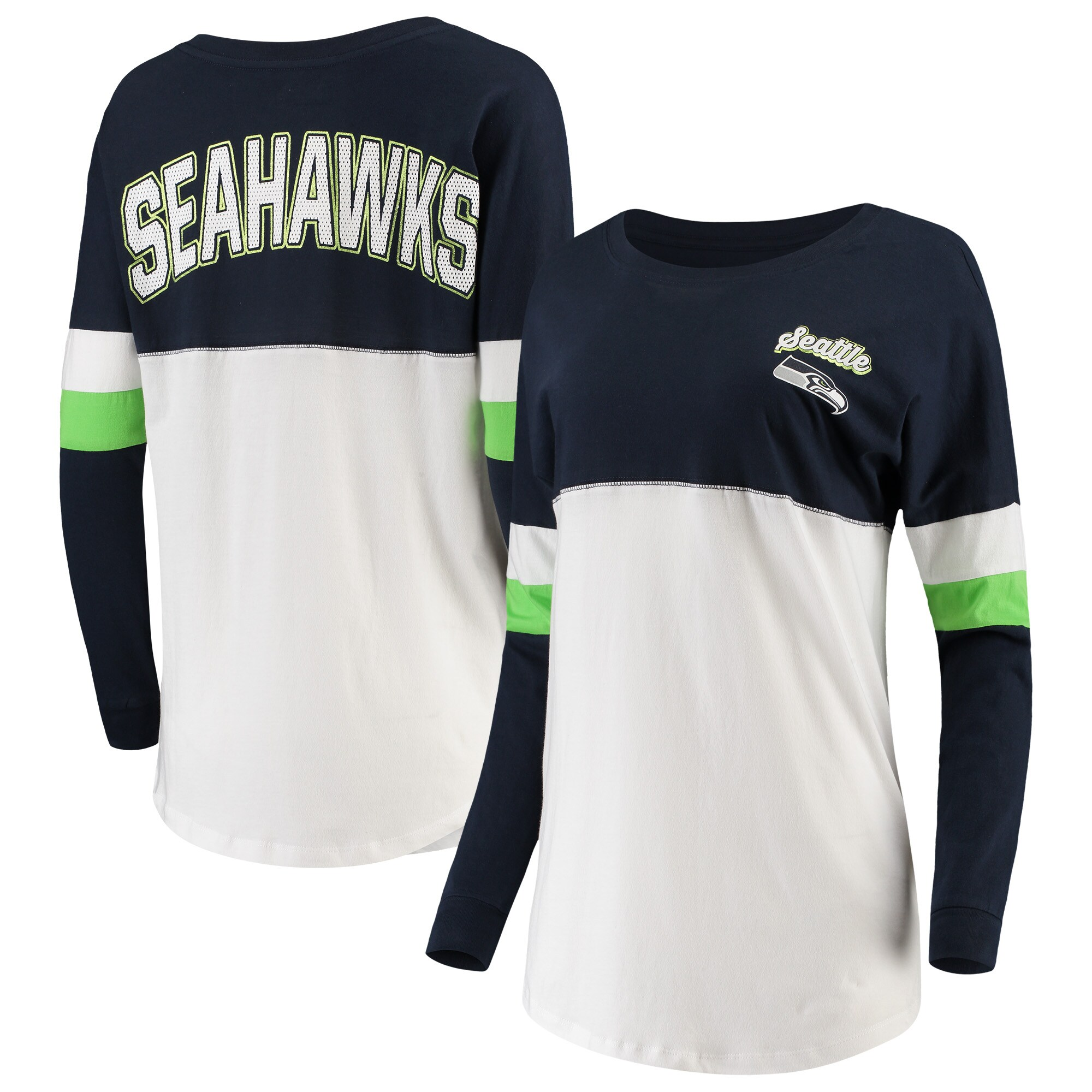 Seattle Seahawks New Era Women's Athletic Varsity Long Sleeve T-Shirt - Navy/White