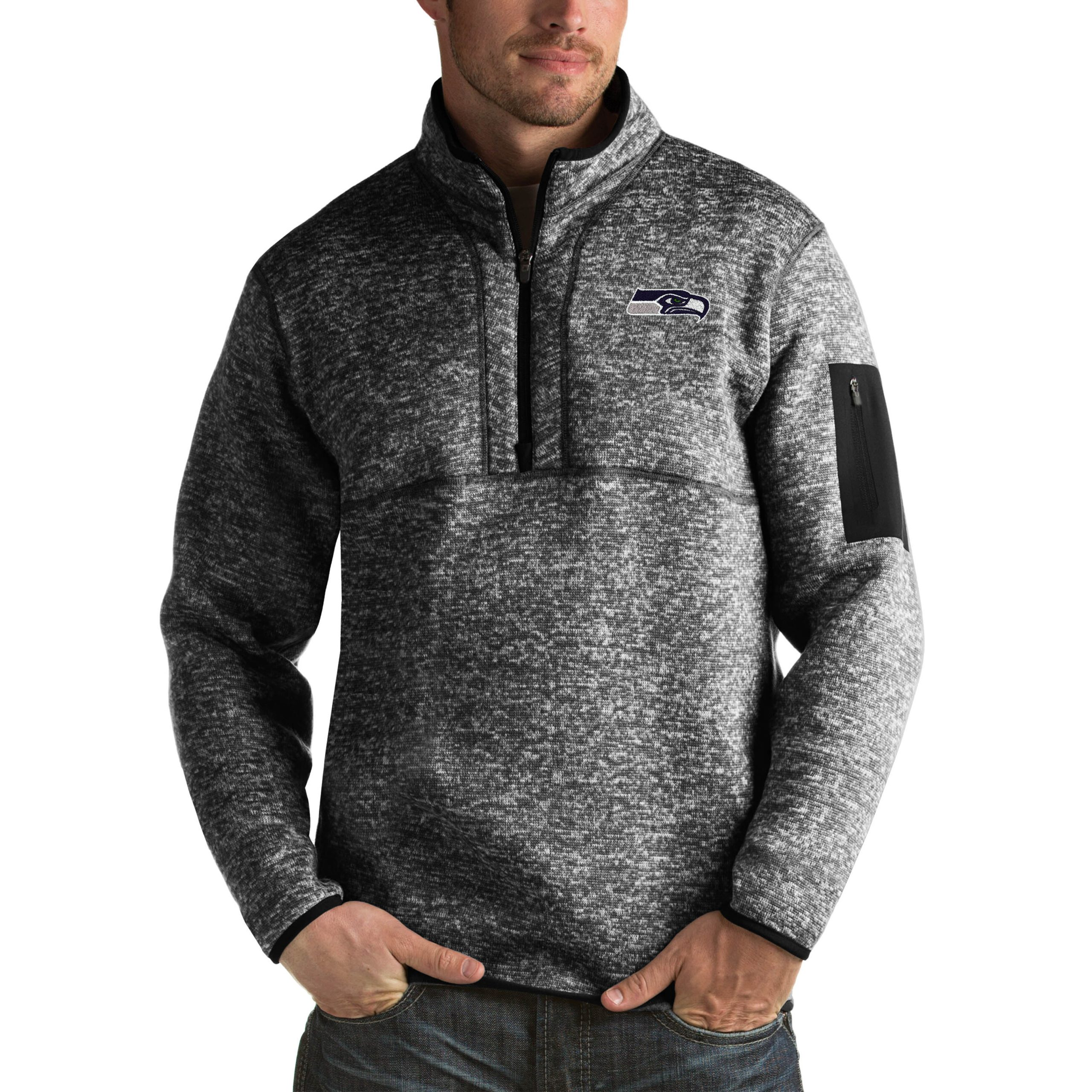 Seattle Seahawks Antigua Fortune Big & Tall Quarter-Zip Pullover Jacket - Heather Black
