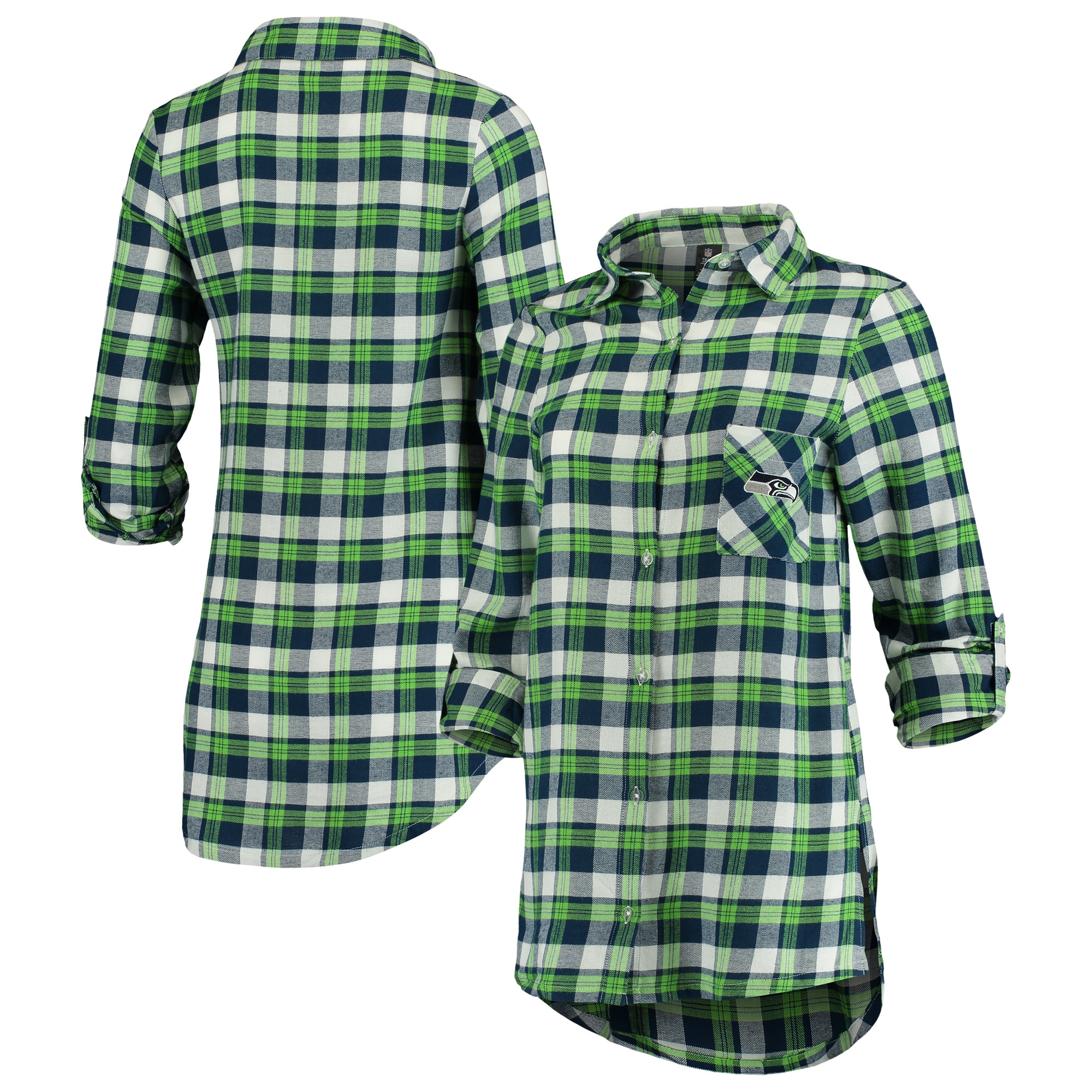 Seattle Seahawks Concepts Sport Women's Piedmont Flannel Button-Up Long Sleeve Shirt - Navy/Neon Green