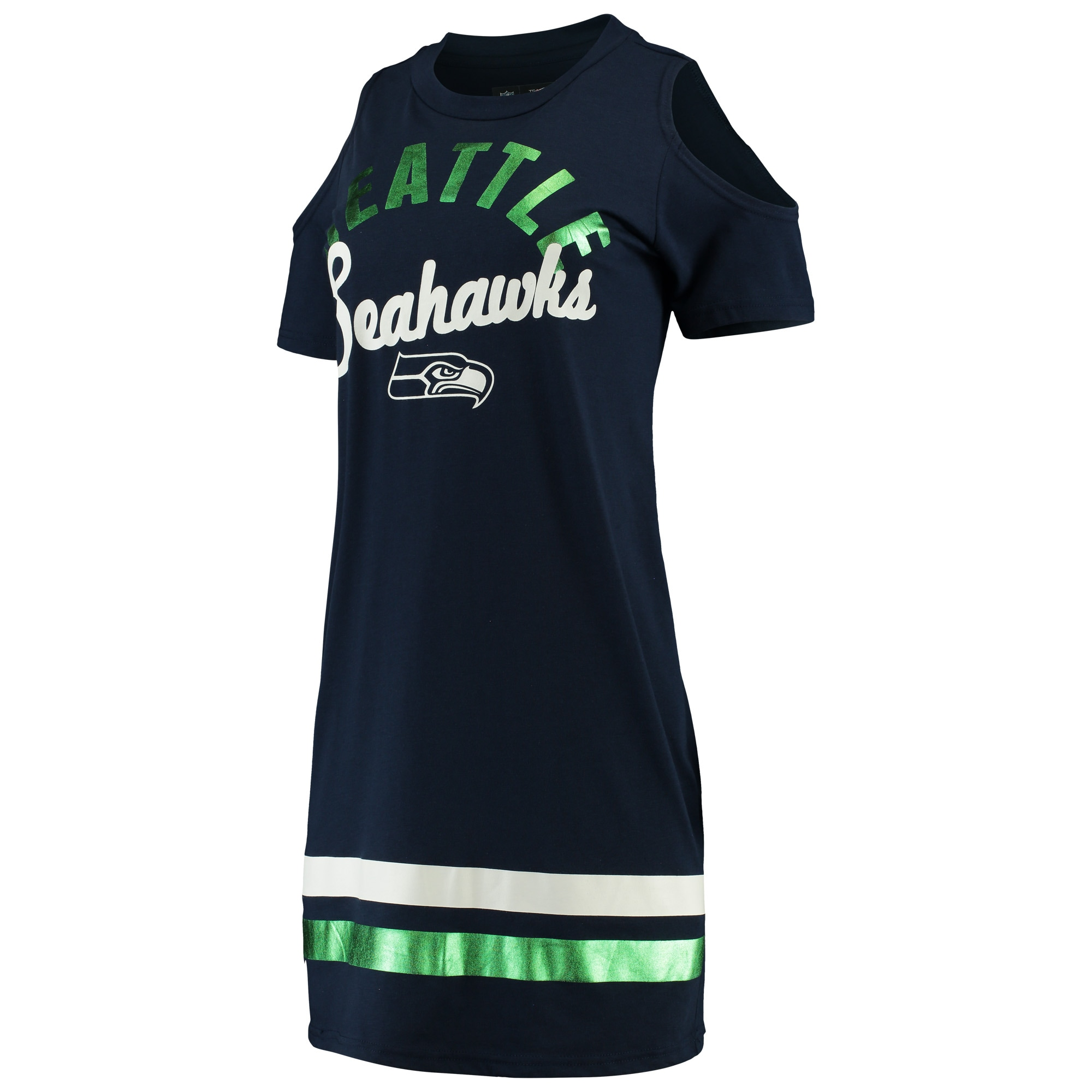 Seattle Seahawks G-III 4Her by Carl Banks Women's Go Get Em Tri-Blend Cold Shoulder Mini-Dress - College Navy