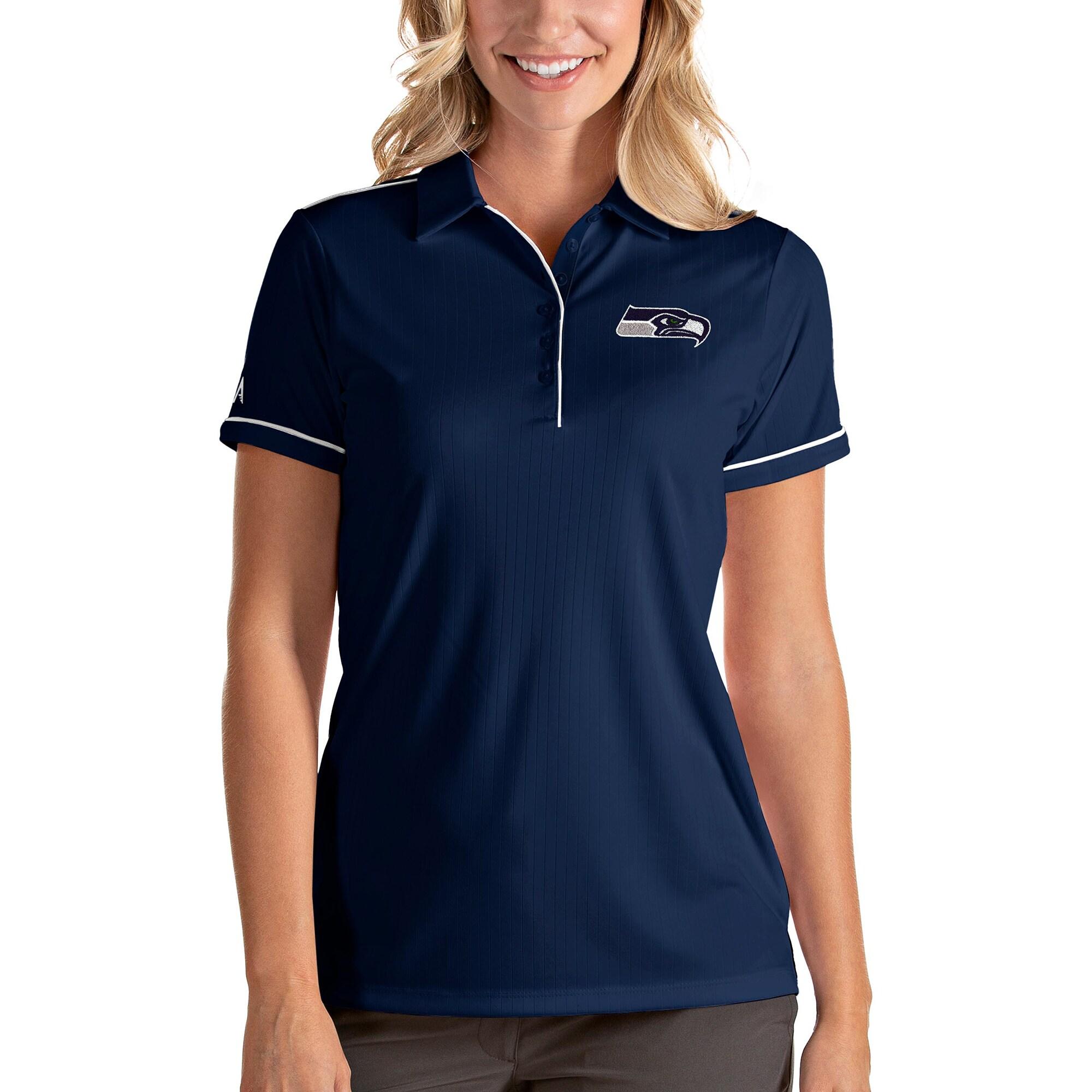 Seattle Seahawks Antigua Women's Salute Polo - Navy