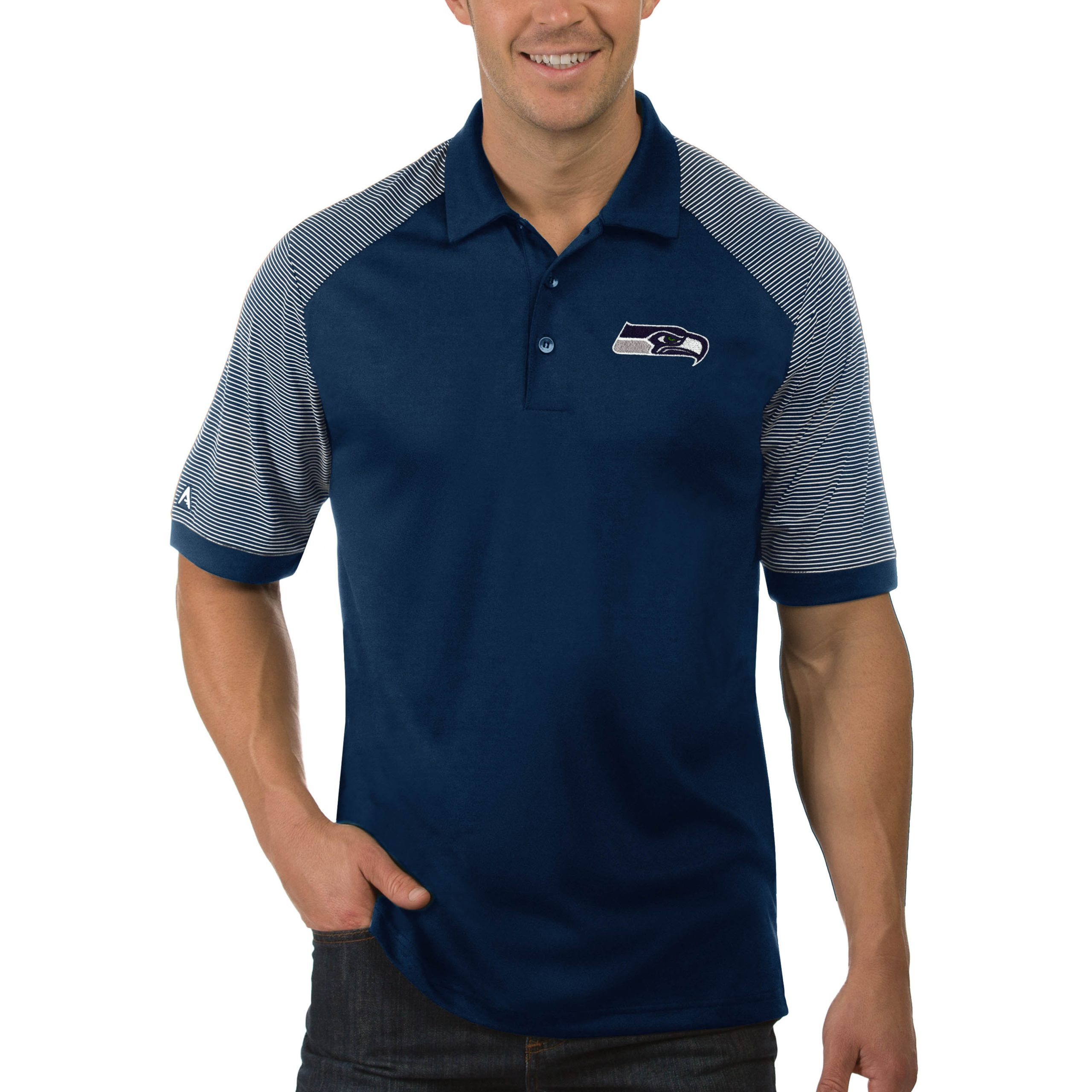 Seattle Seahawks Antigua Engage Big & Tall Polo - Navy