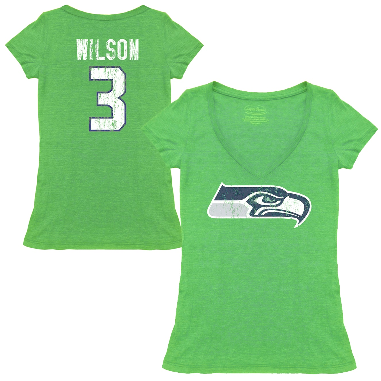 Russell Wilson Seattle Seahawks Tri-Blend Name & Number T-Shirt - Neon Green