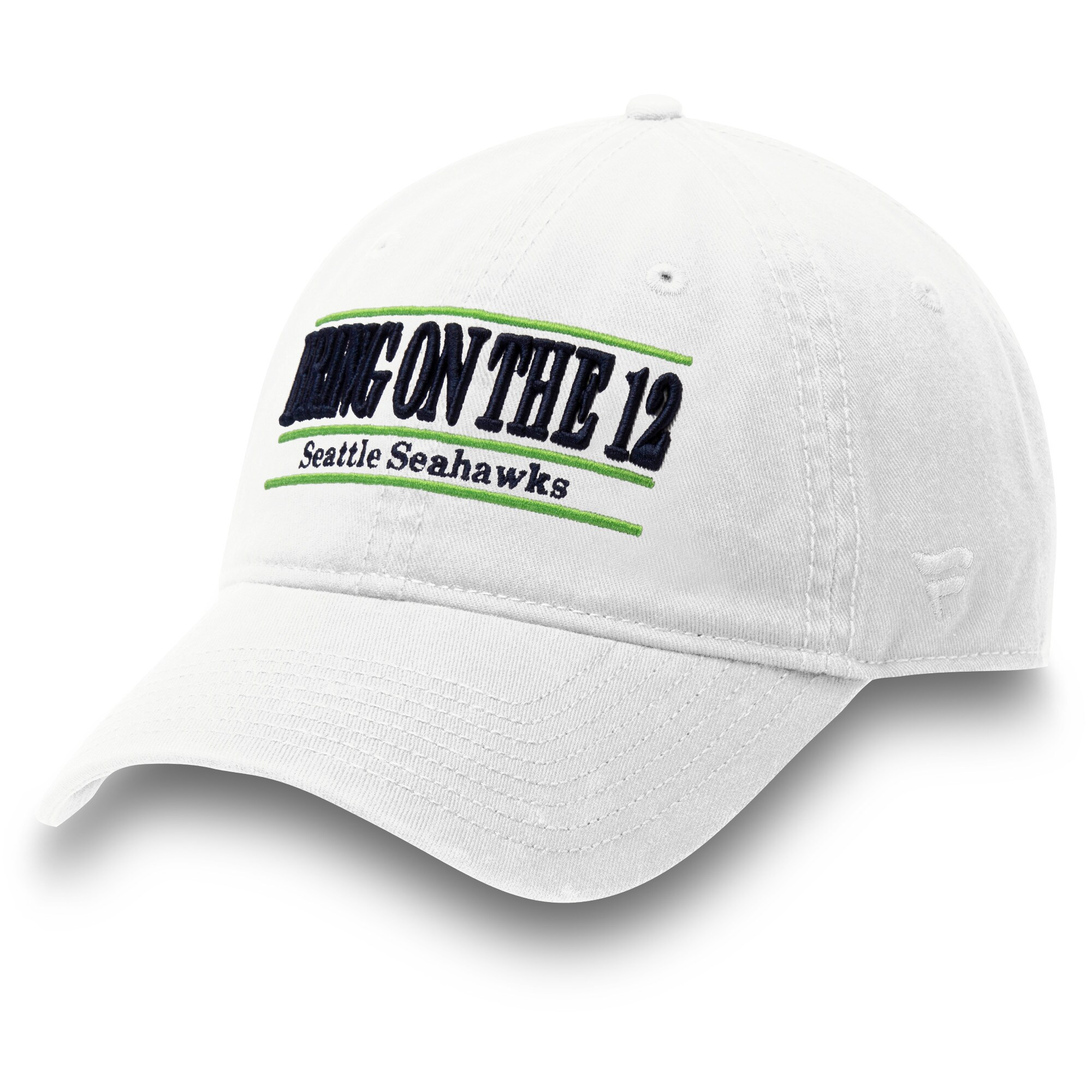 Seattle Seahawks NFL Pro Line by Fanatics Branded Bring On the 12 Nickname Bar Adjustable Hat - White