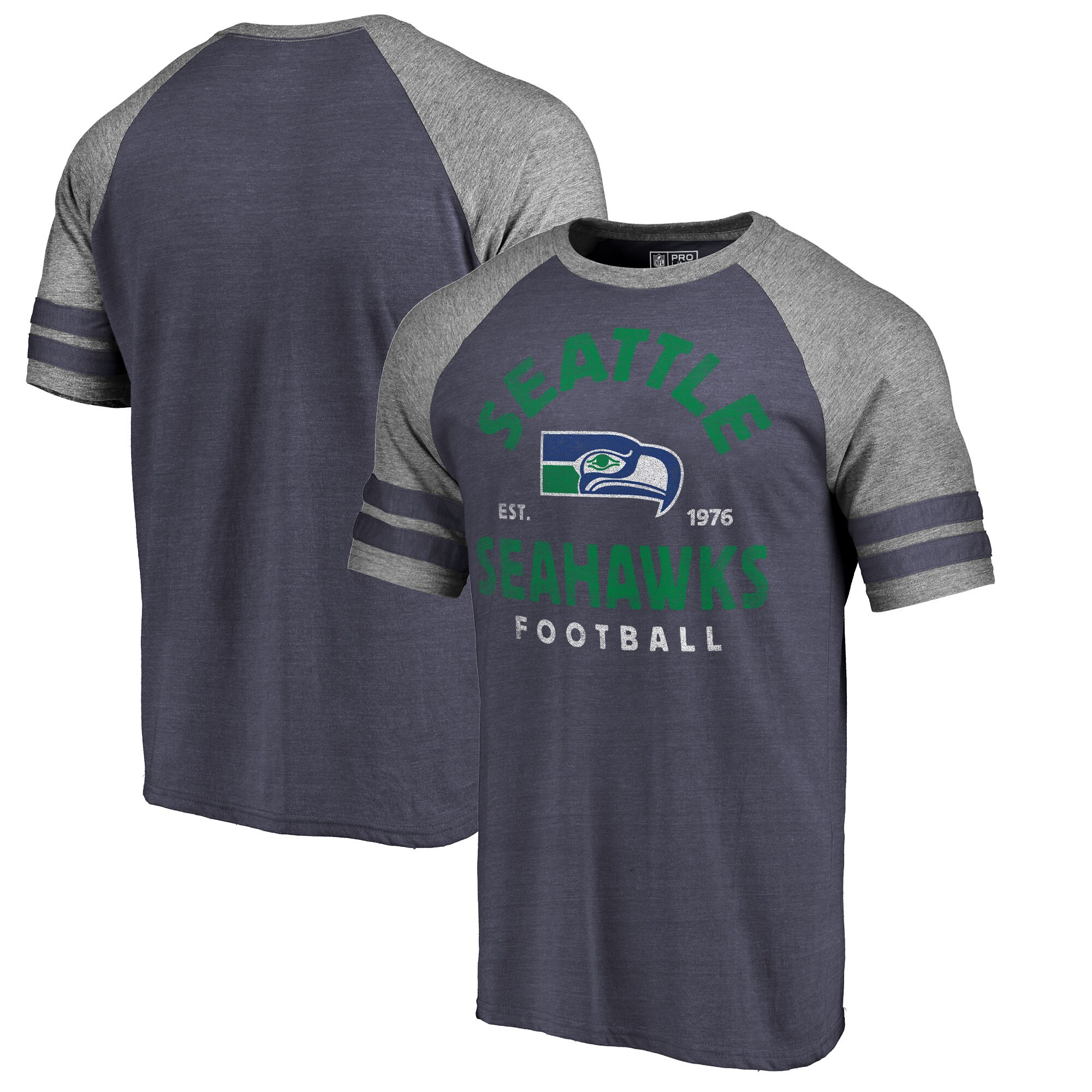Seattle Seahawks NFL Pro Line by Fanatics Branded Timeless Collection Vintage Arch Tri-Blend Raglan T-Shirt - College Navy