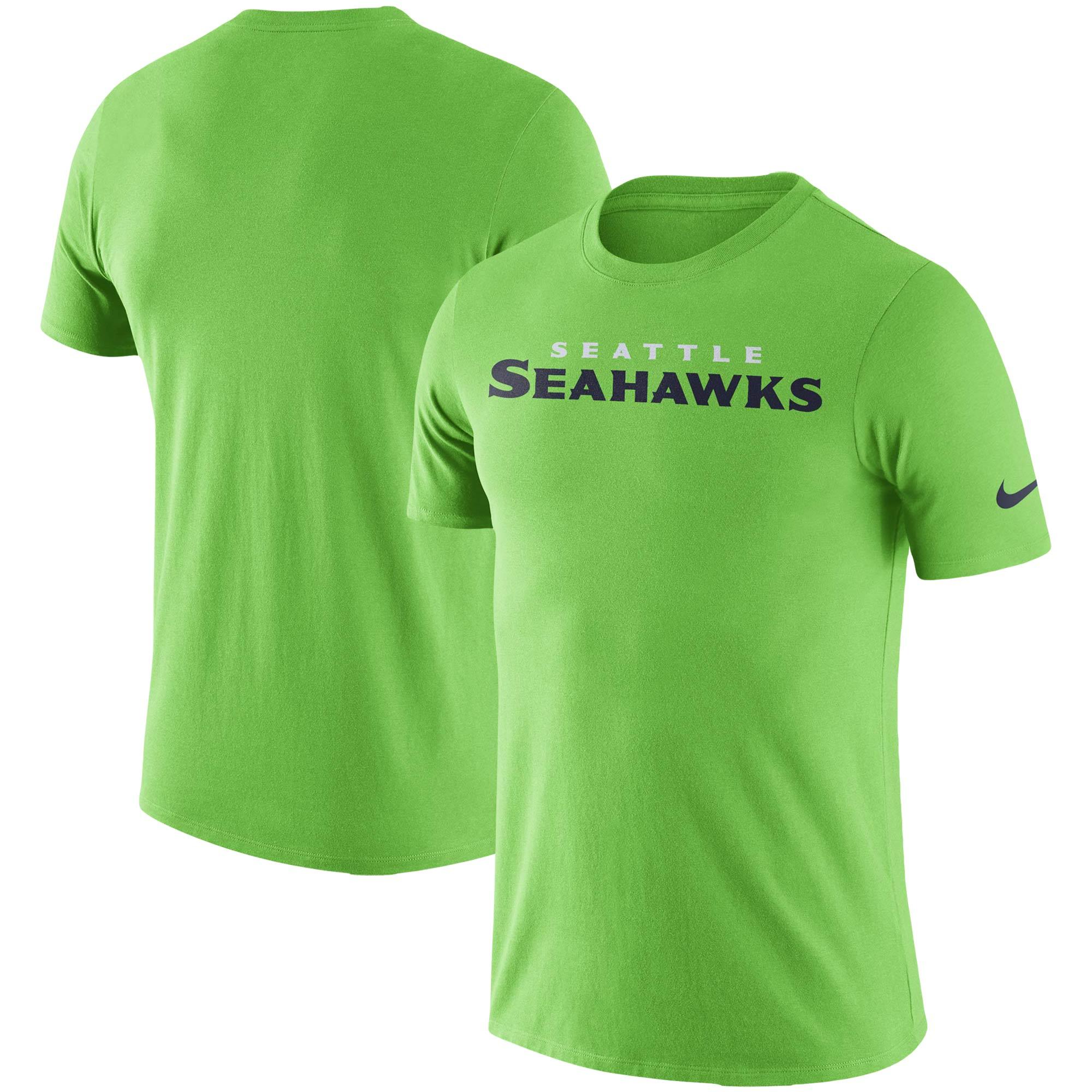 Seattle Seahawks Nike Fan Gear Essential Wordmark Performance T-Shirt - Neon Green