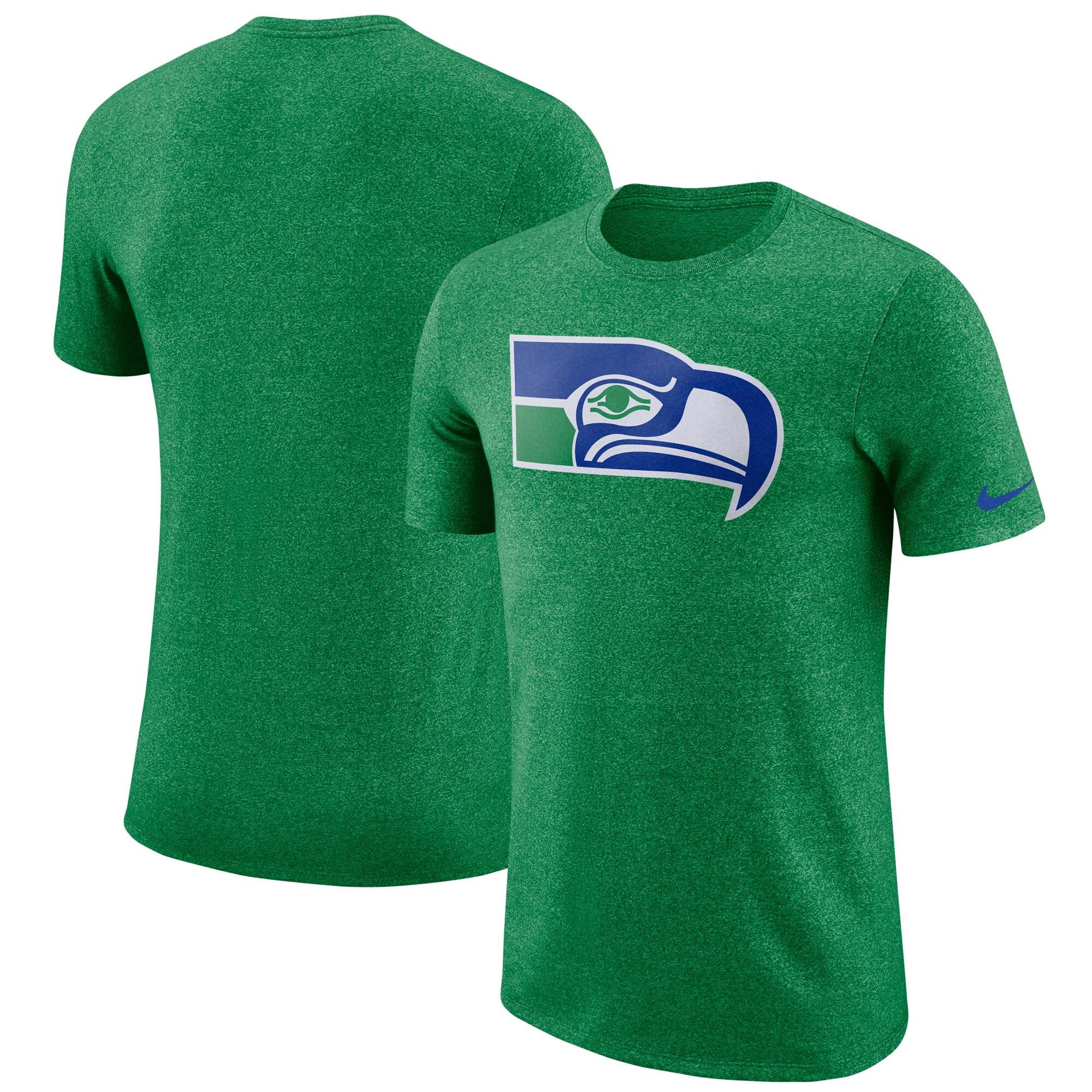 Seattle Seahawks Nike Marled Historic Logo T-Shirt - Heathered Green