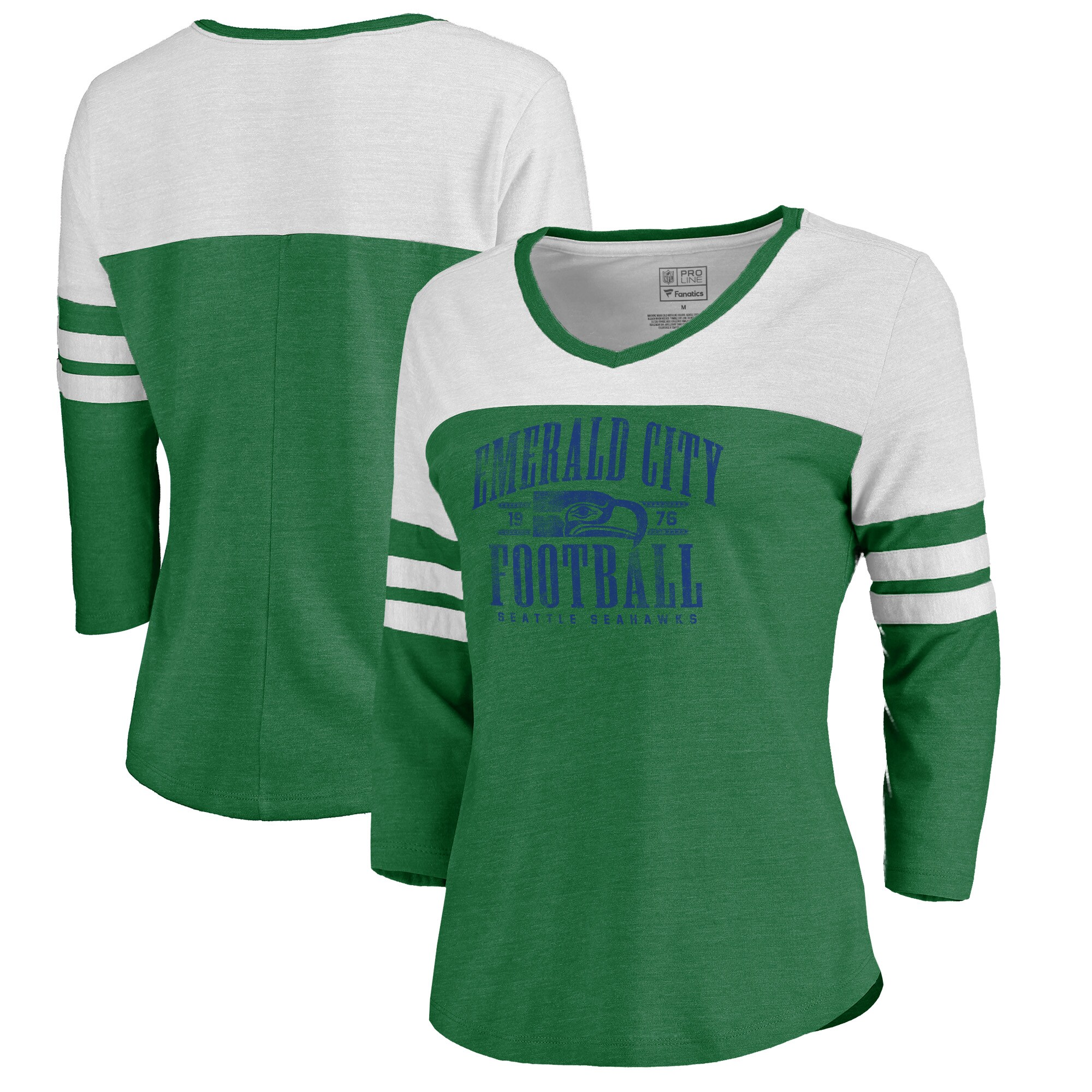 Seattle Seahawks NFL Pro Line by Fanatics Branded Women's Hometown Collection Color Block 3/4 Sleeve Tri-Blend T-Shirt - Kelly Green