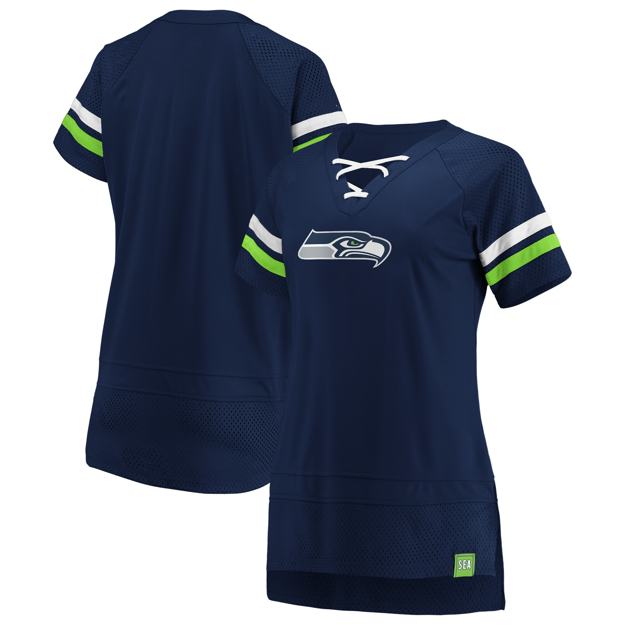 Seattle Seahawks Fanatics Branded Women's Draft Me Lace Up T-Shirt - College Navy/Neon Green