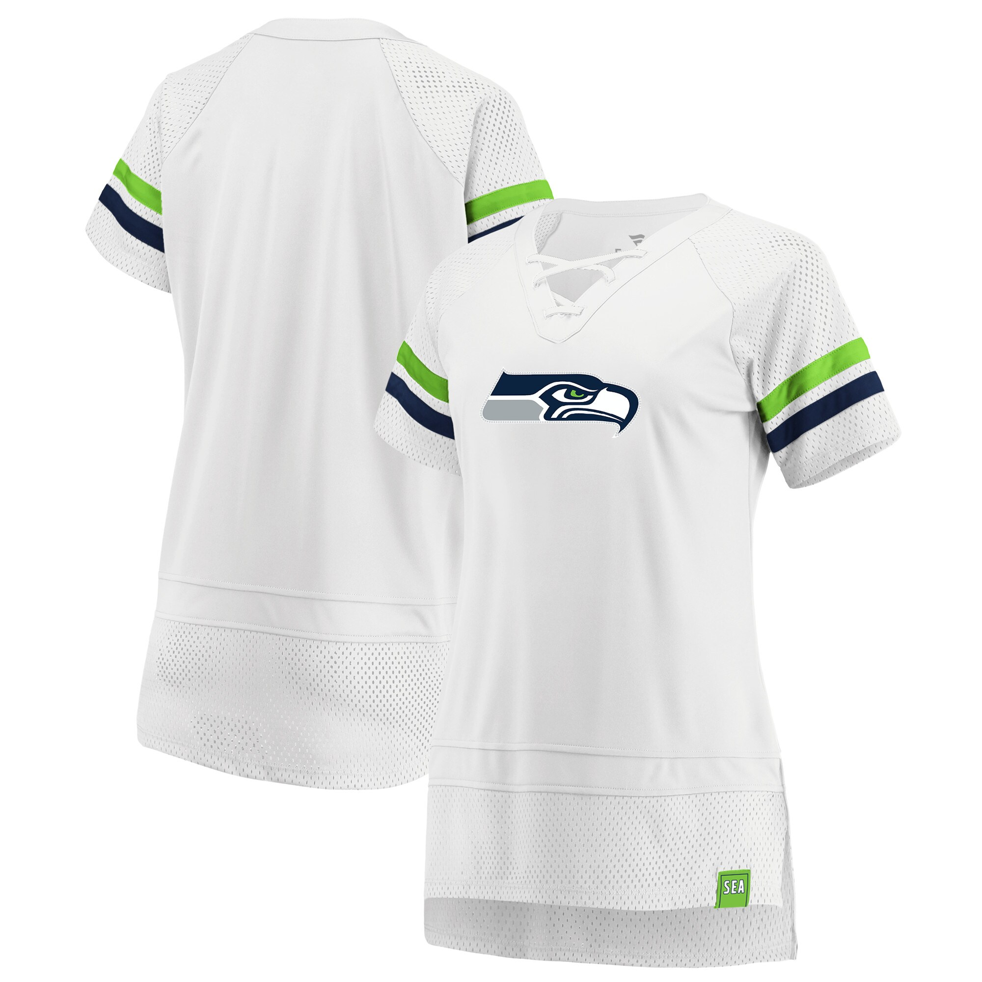 Seattle Seahawks Fanatics Branded Women's Draft Me Lace Up T-Shirt - White/College Navy
