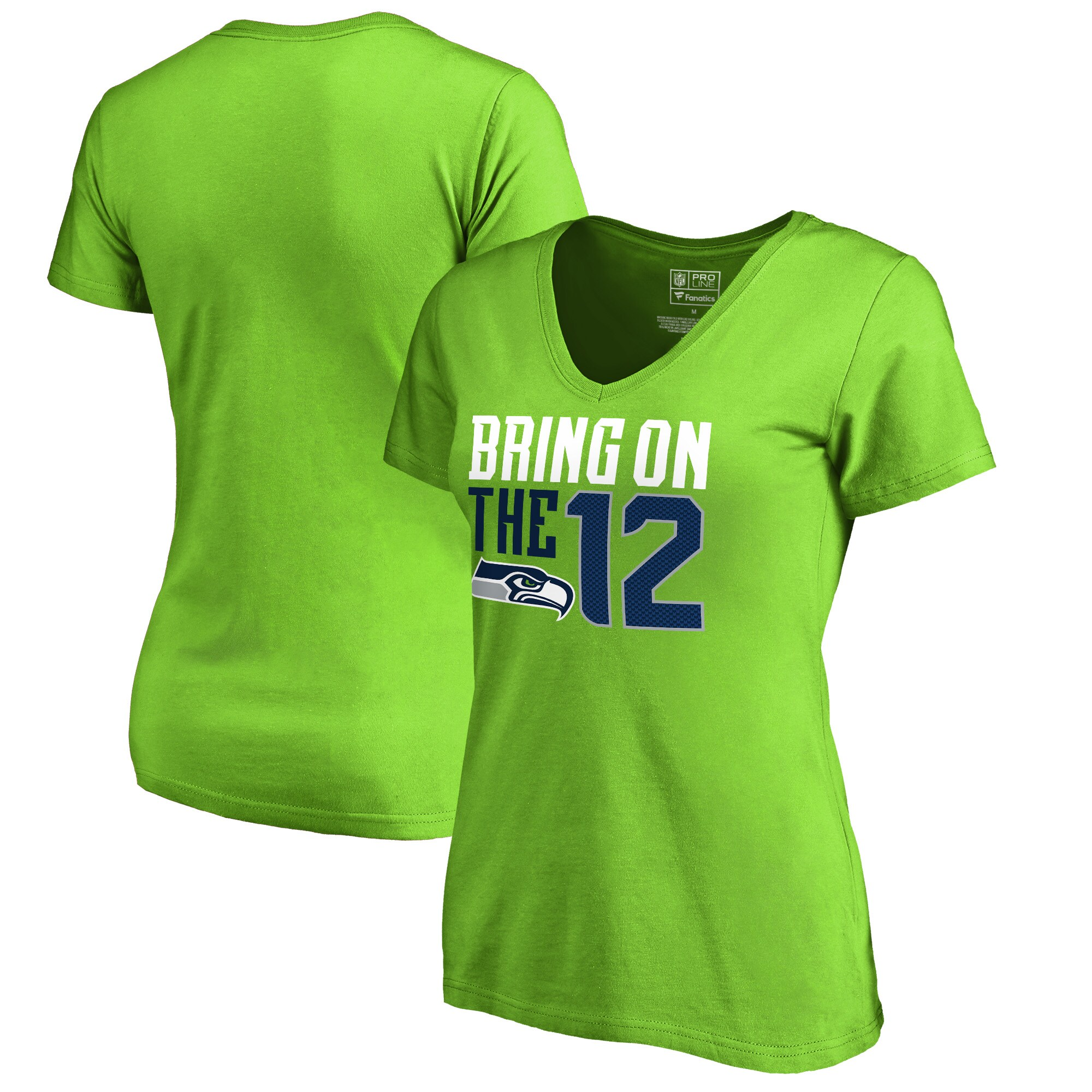 Seattle Seahawks NFL Pro Line by Fanatics Branded Women's Hometown Collection V-Neck T-Shirt - Neon Green