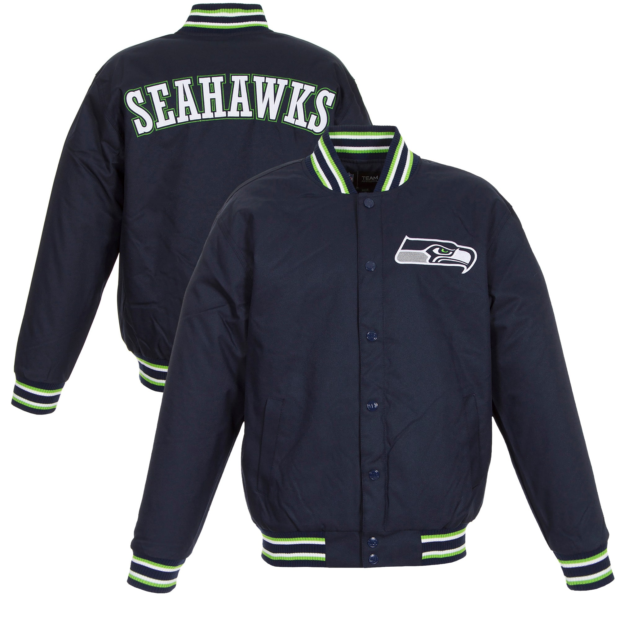 Seattle Seahawks JH Design Poly Twill Varsity Jacket - College Navy