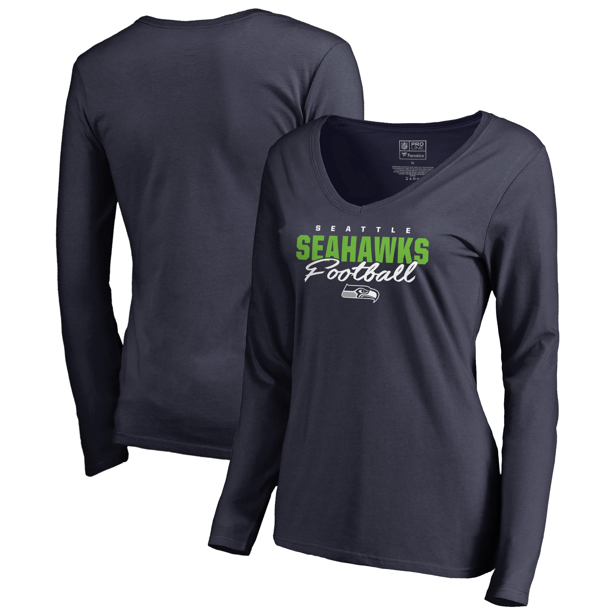 Seattle Seahawks NFL Pro Line by Fanatics Branded Women's Iconic Collection Script Assist Long Sleeve V-Neck T-Shirt - College Navy