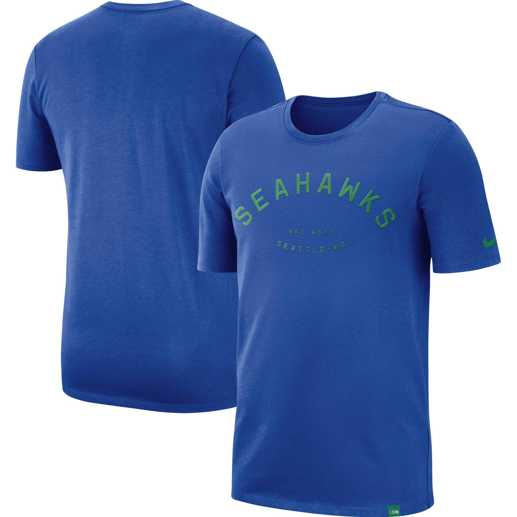 Seattle Seahawks Nike Heavyweight Arch Throwback T-Shirt - Royal