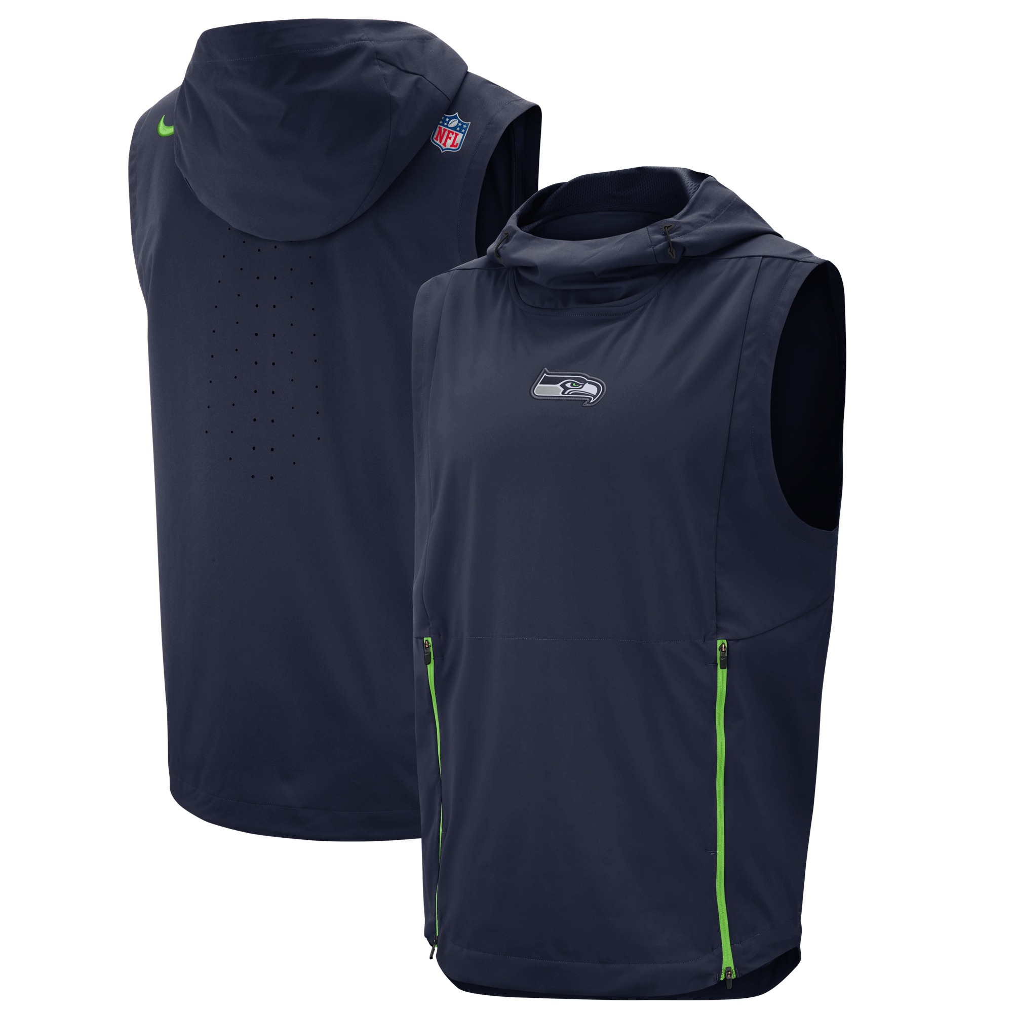 Seattle Seahawks Nike Sideline Fly Rush Performance Pullover Hooded Vest - College Navy